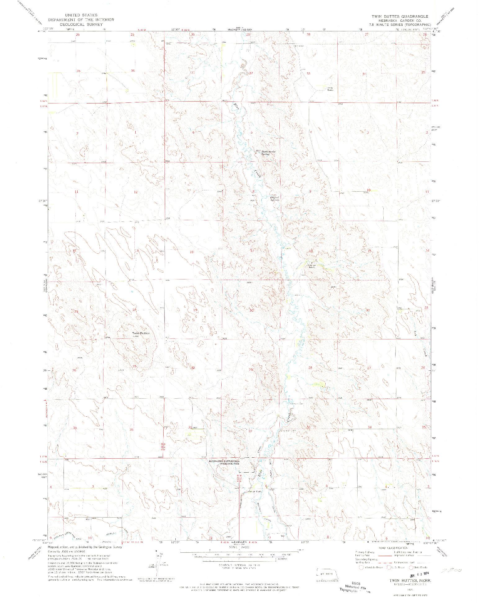 USGS 1:24000-SCALE QUADRANGLE FOR TWIN BUTTES, NE 1971