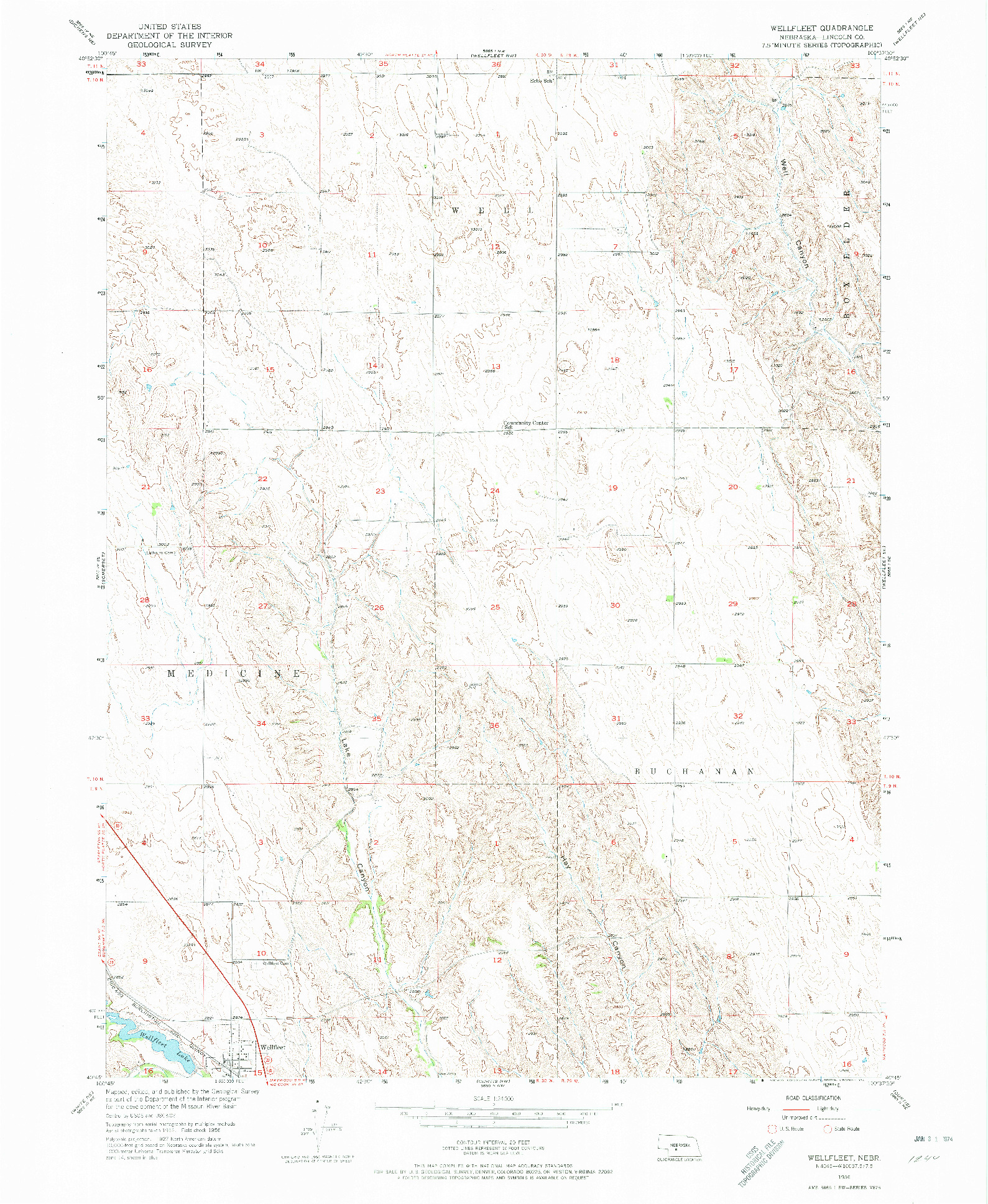 USGS 1:24000-SCALE QUADRANGLE FOR WELLFLEET, NE 1956