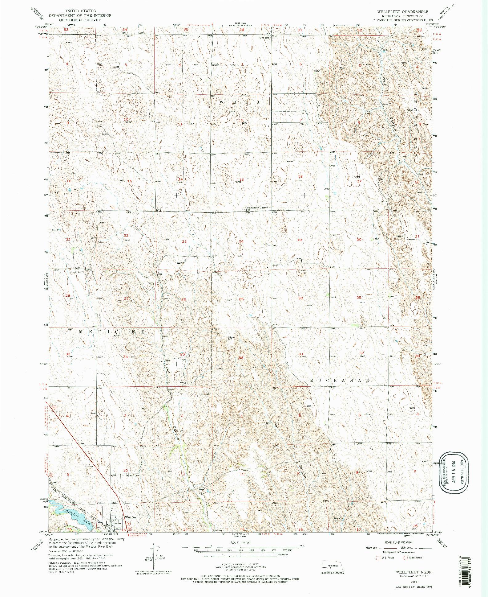 USGS 1:24000-SCALE QUADRANGLE FOR WELLFLEET, NE 1956
