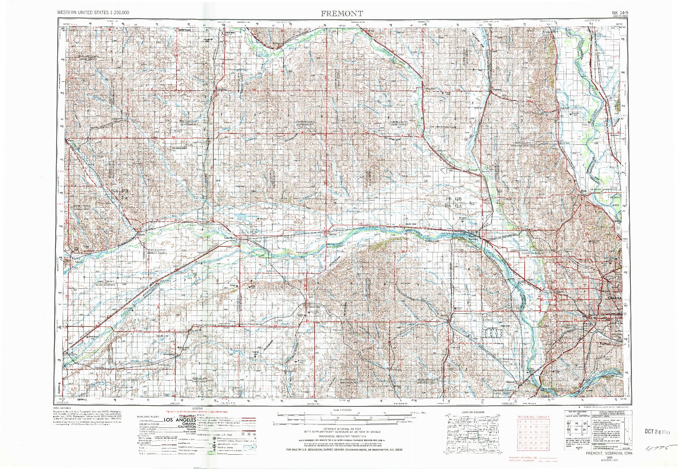 USGS 1:250000-SCALE QUADRANGLE FOR FREMONT, NE 1955