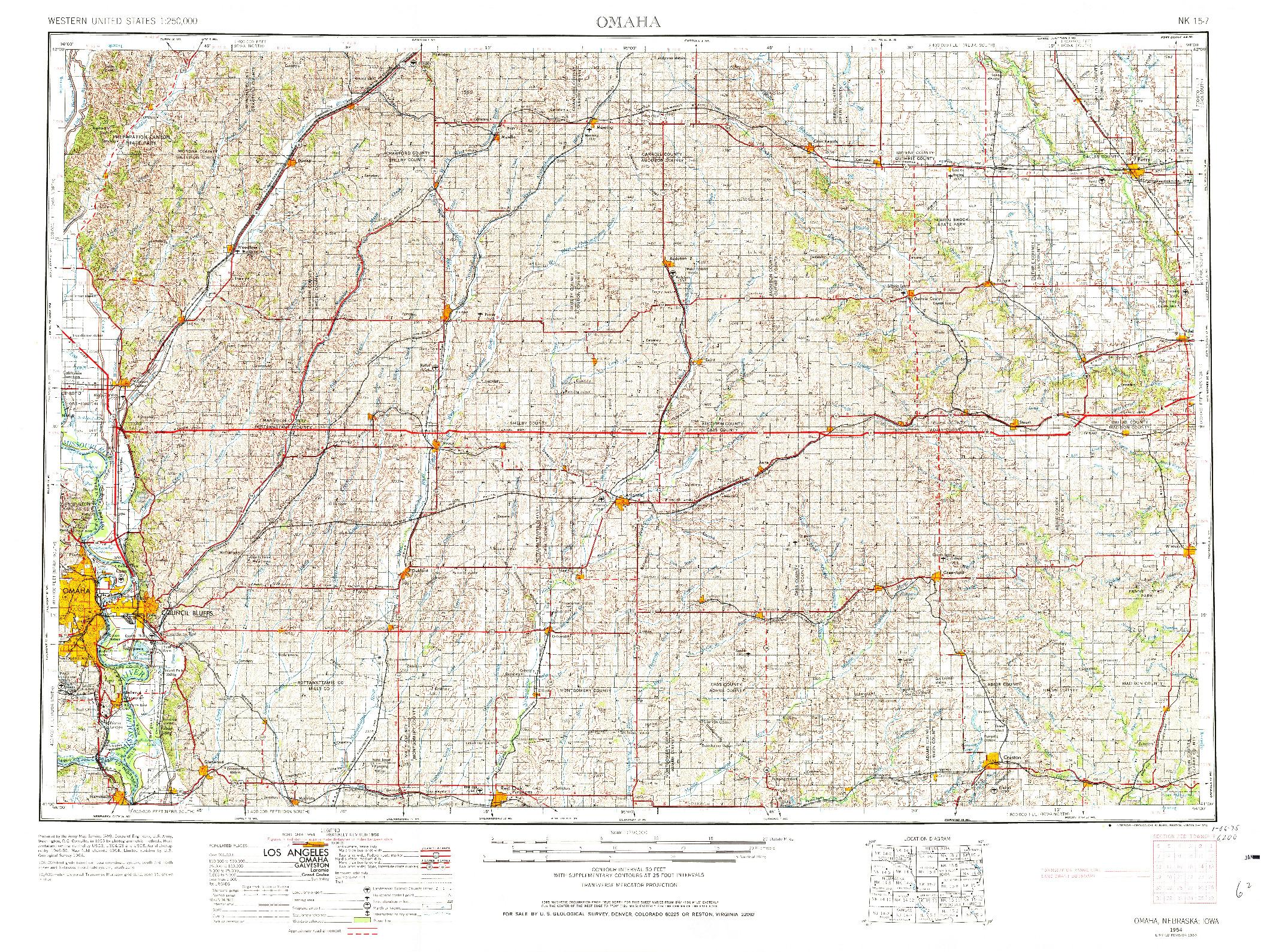 USGS 1:250000-SCALE QUADRANGLE FOR OMAHA, NE 1954