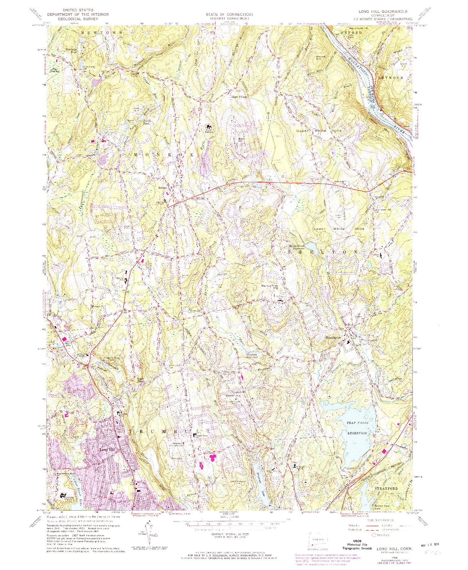 USGS 1:24000-SCALE QUADRANGLE FOR LONG HILL, CT 1964