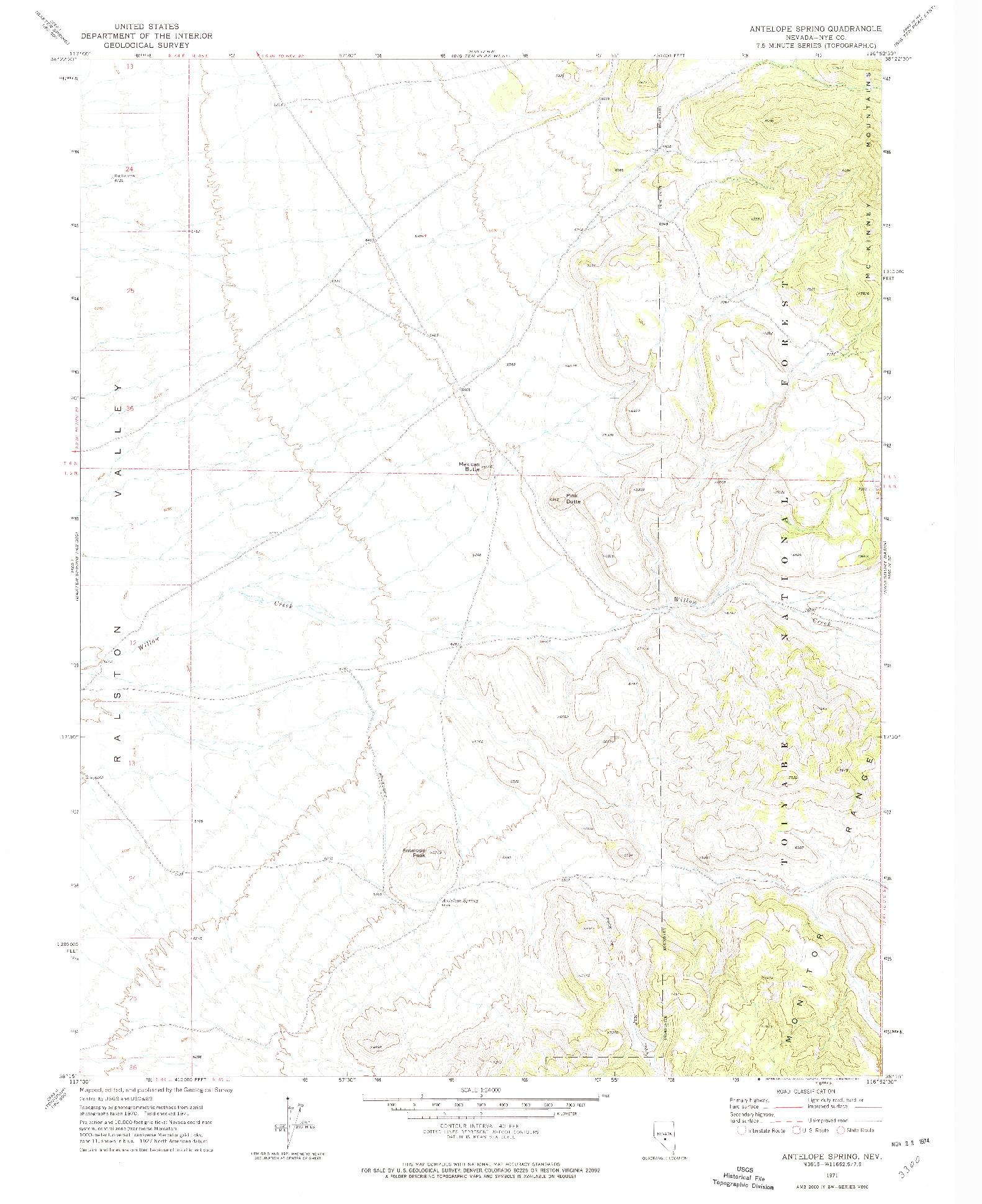 USGS 1:24000-SCALE QUADRANGLE FOR ANTELOPE SPRING, NV 1971