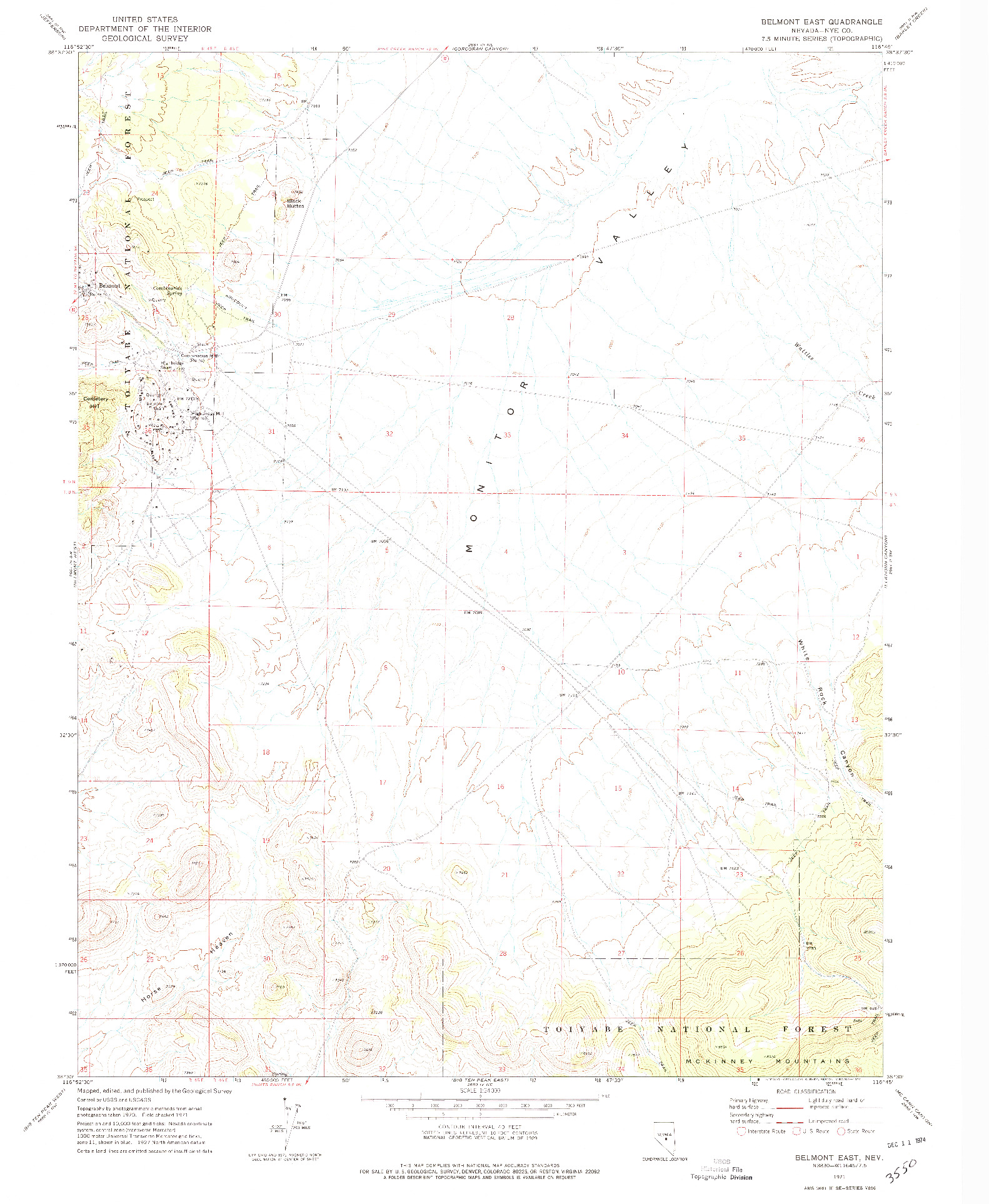 USGS 1:24000-SCALE QUADRANGLE FOR BELMONT EAST, NV 1971