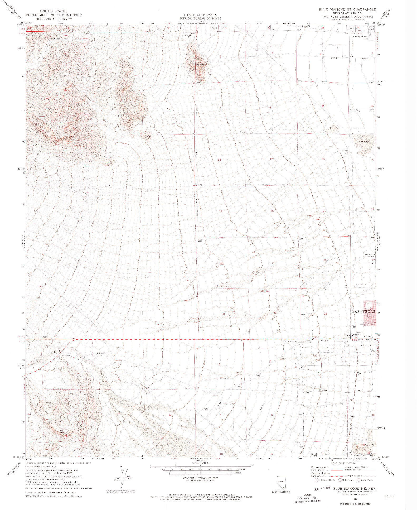 USGS 1:24000-SCALE QUADRANGLE FOR BLUE DIAMOND NE, NV 1972
