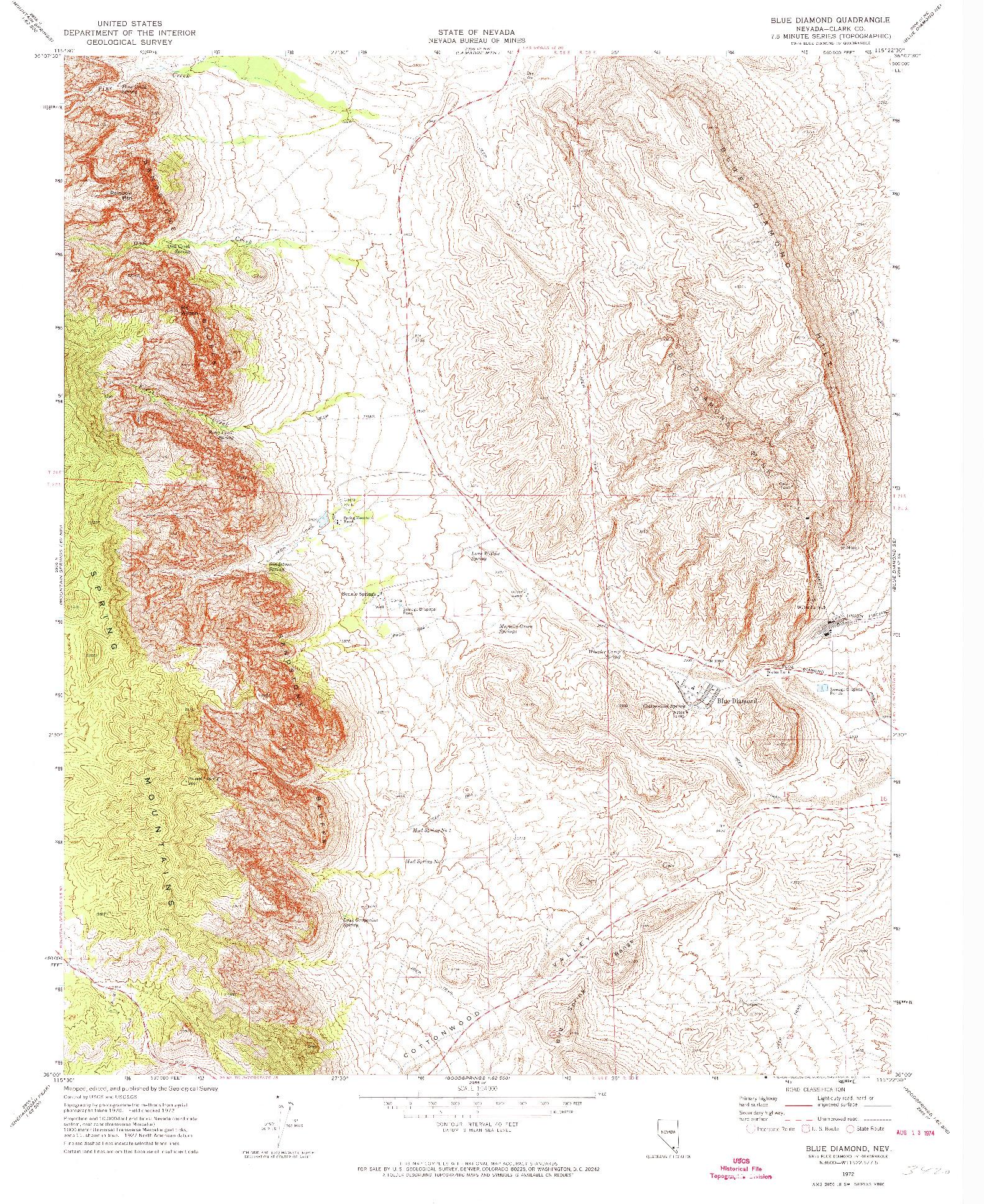 USGS 1:24000-SCALE QUADRANGLE FOR BLUE DIAMOND, NV 1972
