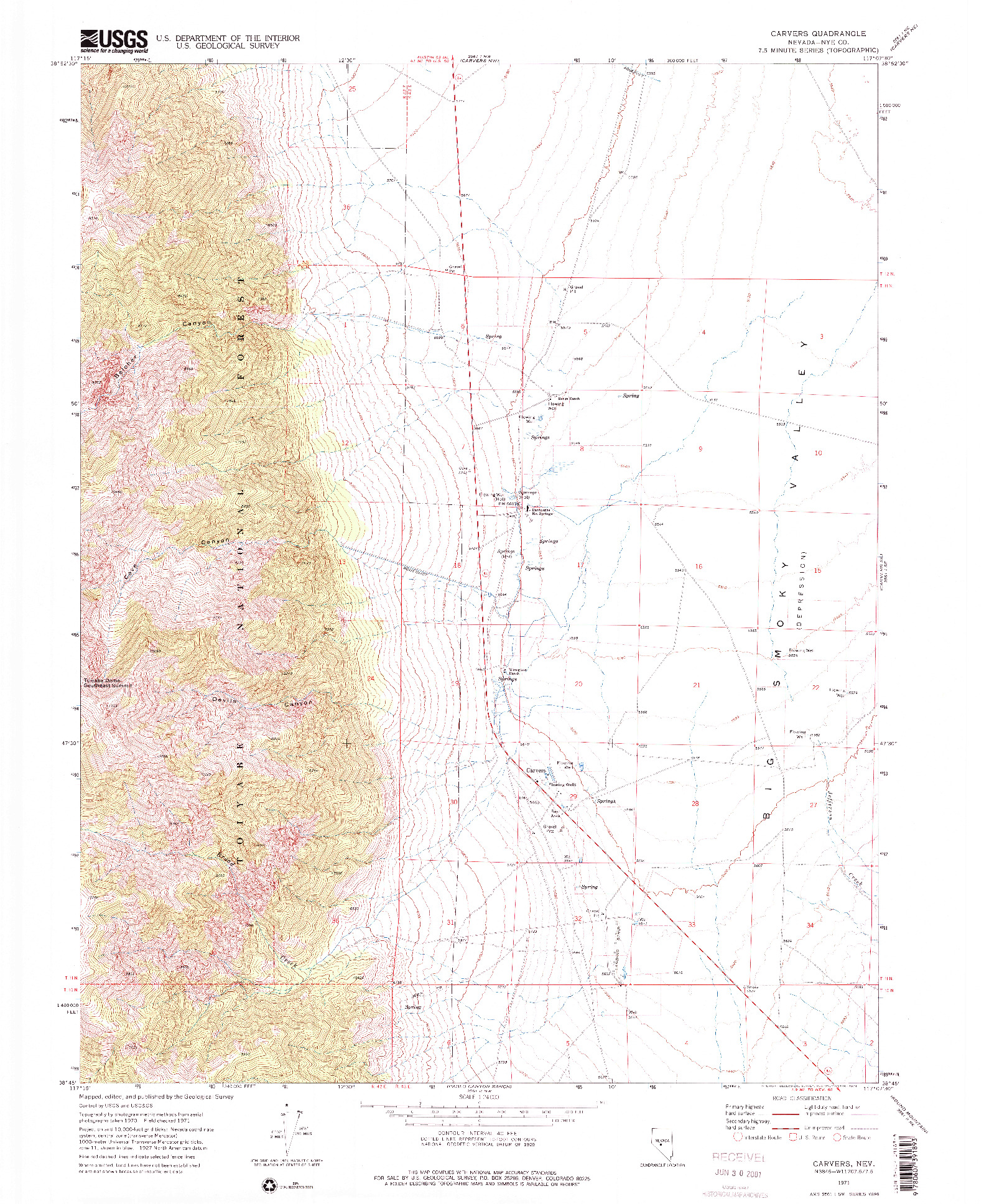 USGS 1:24000-SCALE QUADRANGLE FOR CARVERS, NV 1971