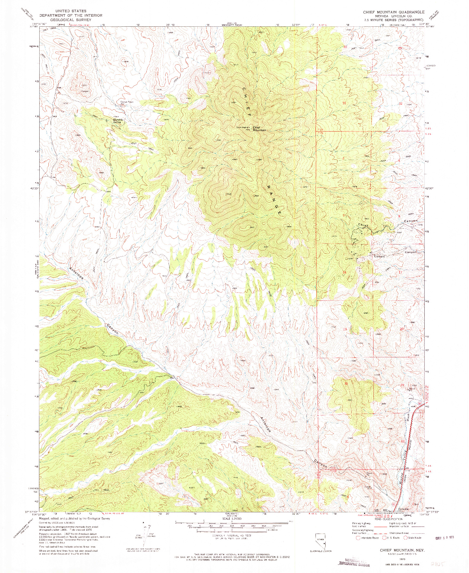 USGS 1:24000-SCALE QUADRANGLE FOR CHIEF MOUNTAIN, NV 1970