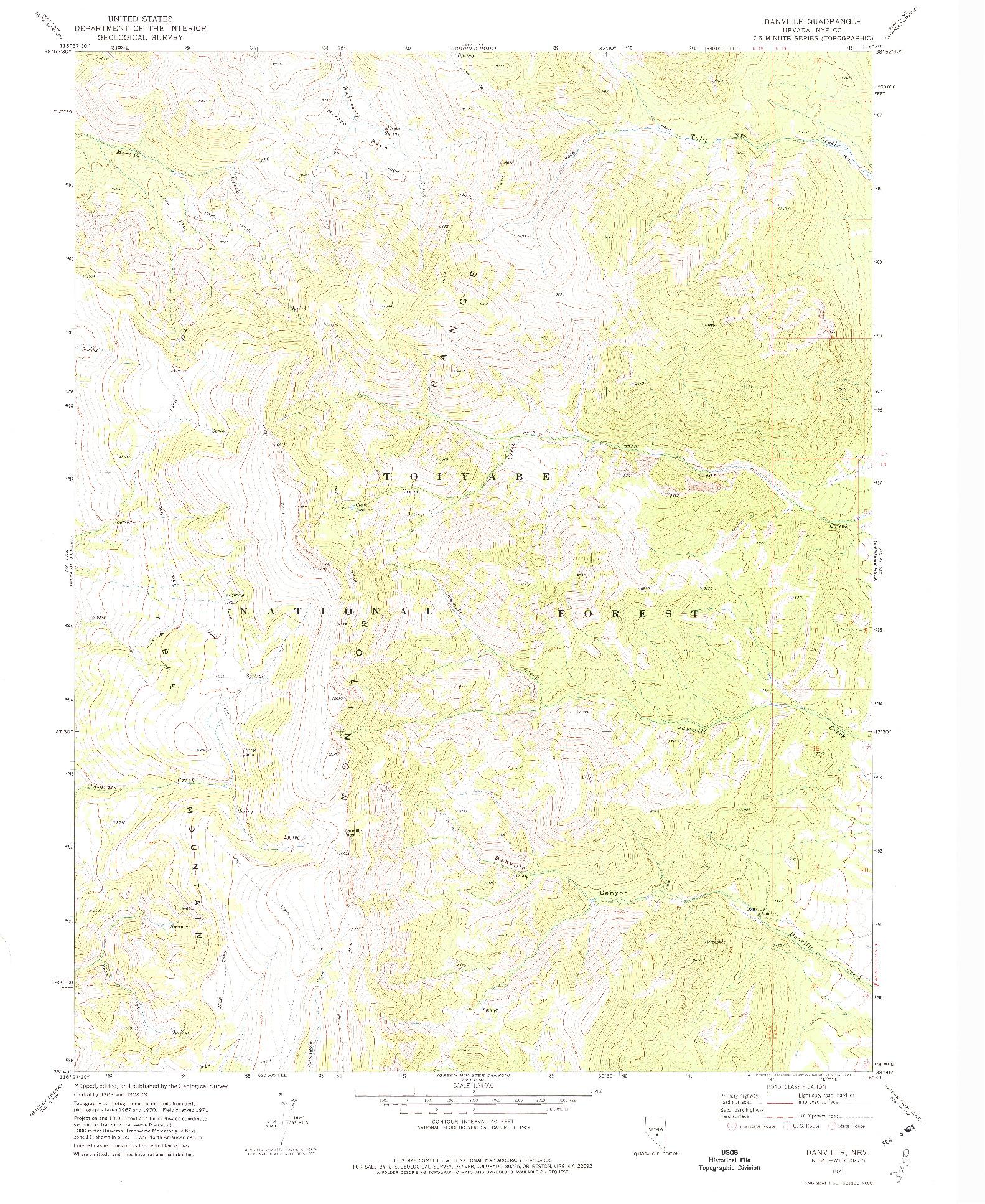 USGS 1:24000-SCALE QUADRANGLE FOR DANVILLE, NV 1971