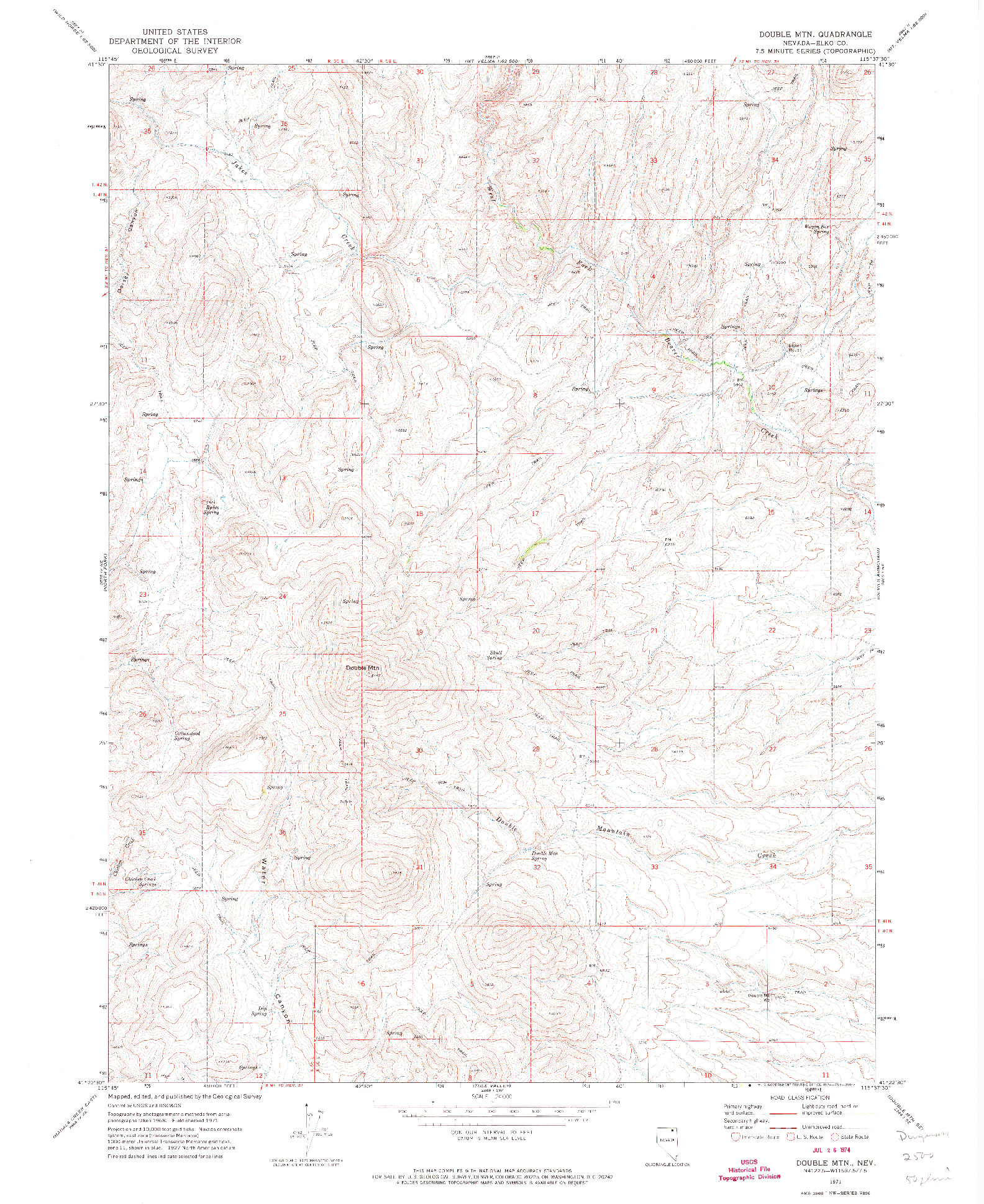 USGS 1:24000-SCALE QUADRANGLE FOR DOUBLE MTN, NV 1971