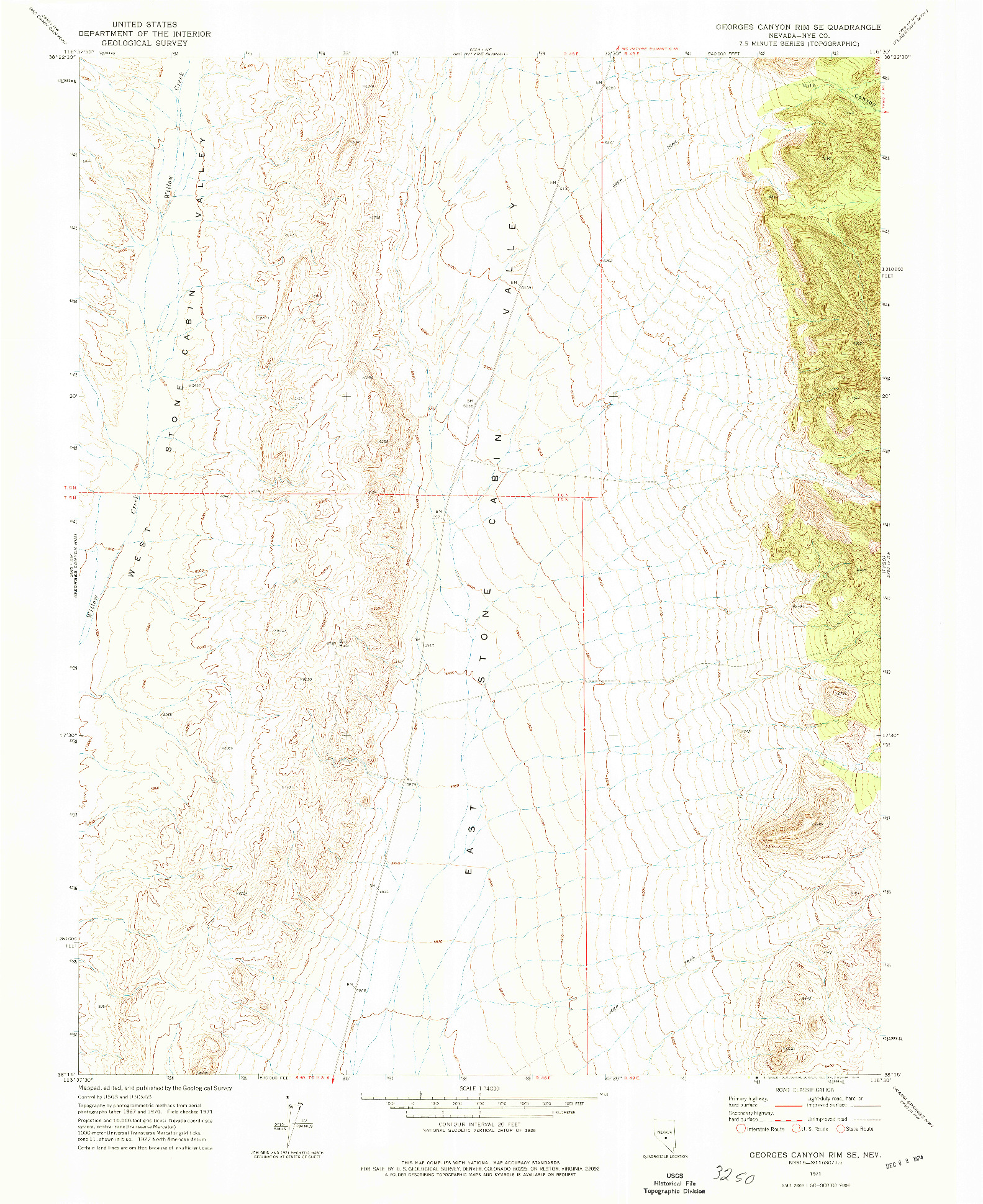 USGS 1:24000-SCALE QUADRANGLE FOR GEORGES CANYON RIM SE, NV 1971