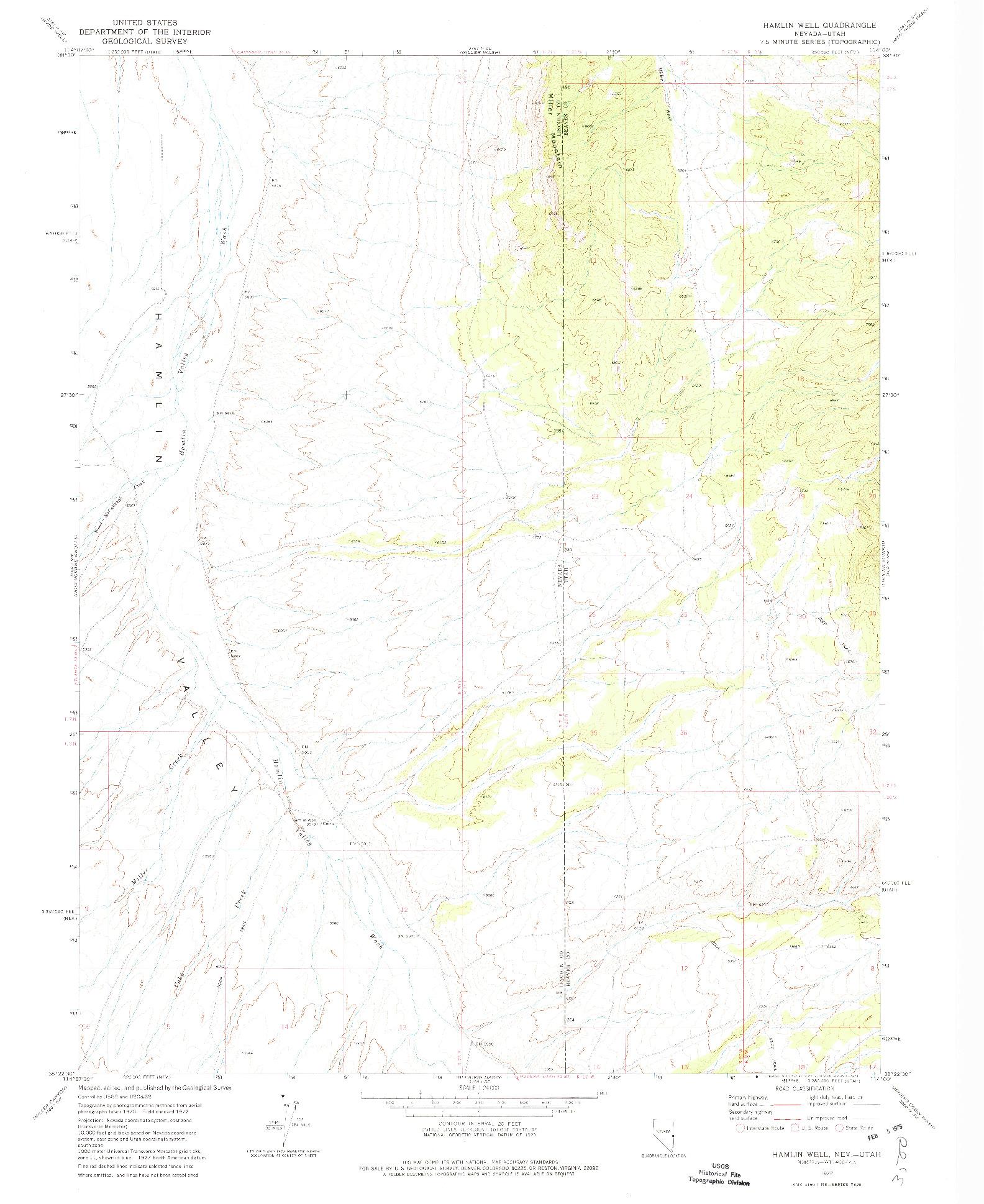 USGS 1:24000-SCALE QUADRANGLE FOR HAMLIN WELL, NV 1972