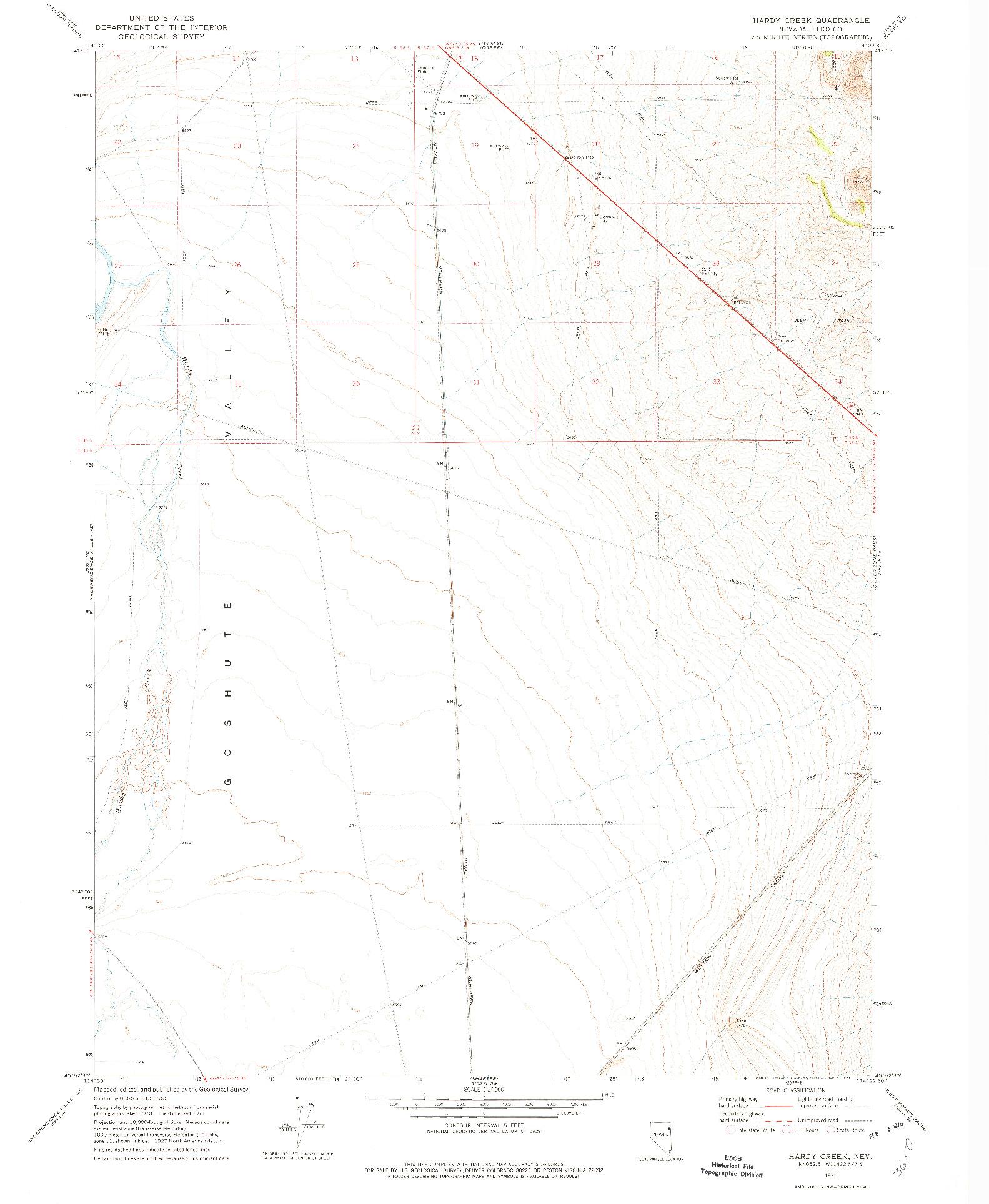 USGS 1:24000-SCALE QUADRANGLE FOR HARDY CREEK, NV 1971