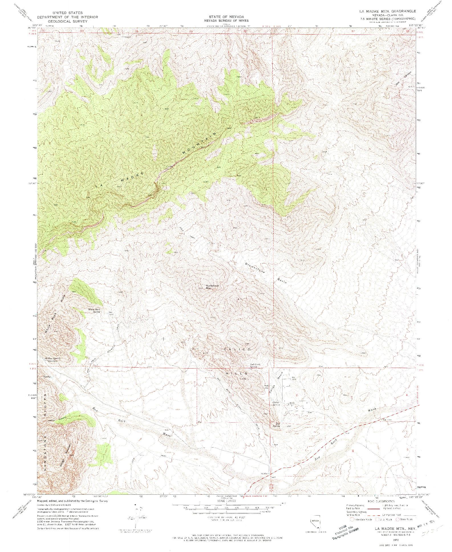 USGS 1:24000-SCALE QUADRANGLE FOR LA MADRE MTN, NV 1972