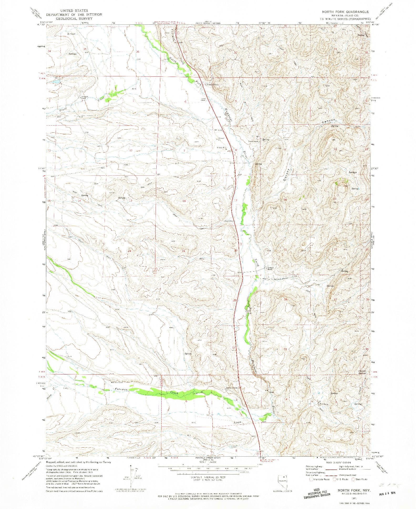 USGS 1:24000-SCALE QUADRANGLE FOR NORTH FORK, NV 1971