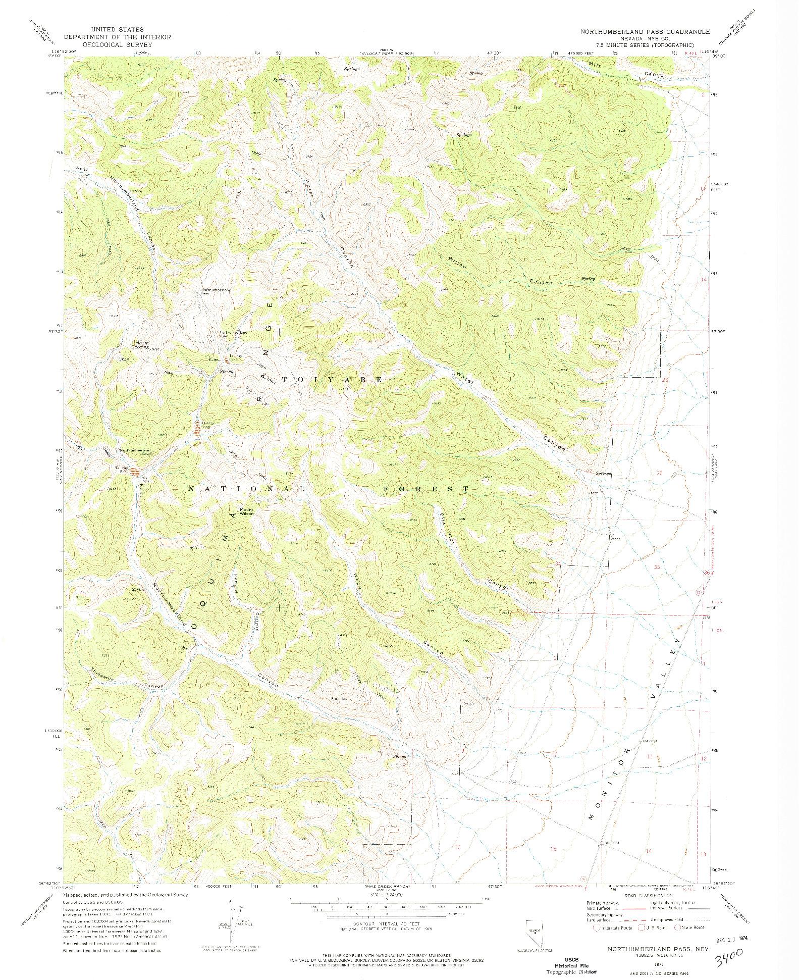USGS 1:24000-SCALE QUADRANGLE FOR NORTHUMBERLAND PASS, NV 1971