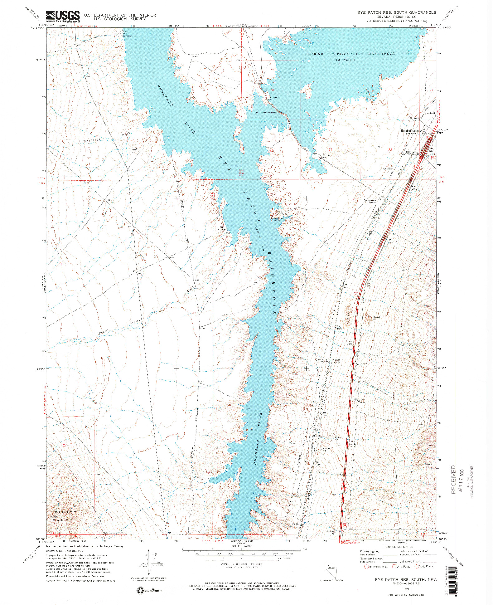 USGS 1:24000-SCALE QUADRANGLE FOR RYE PATCH RESERVOIR SOUTH, NV 1971