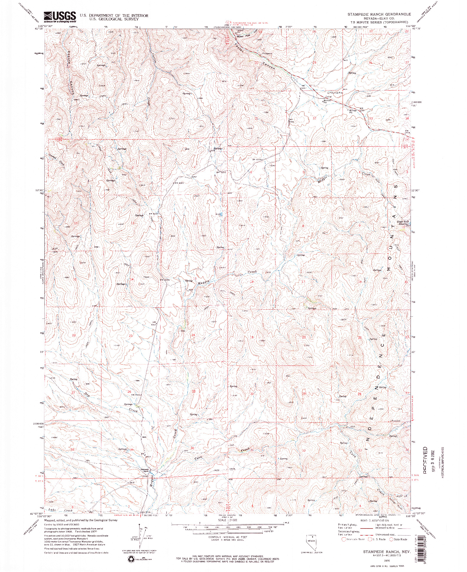 USGS 1:24000-SCALE QUADRANGLE FOR STAMPEDE RANCH, NV 1970