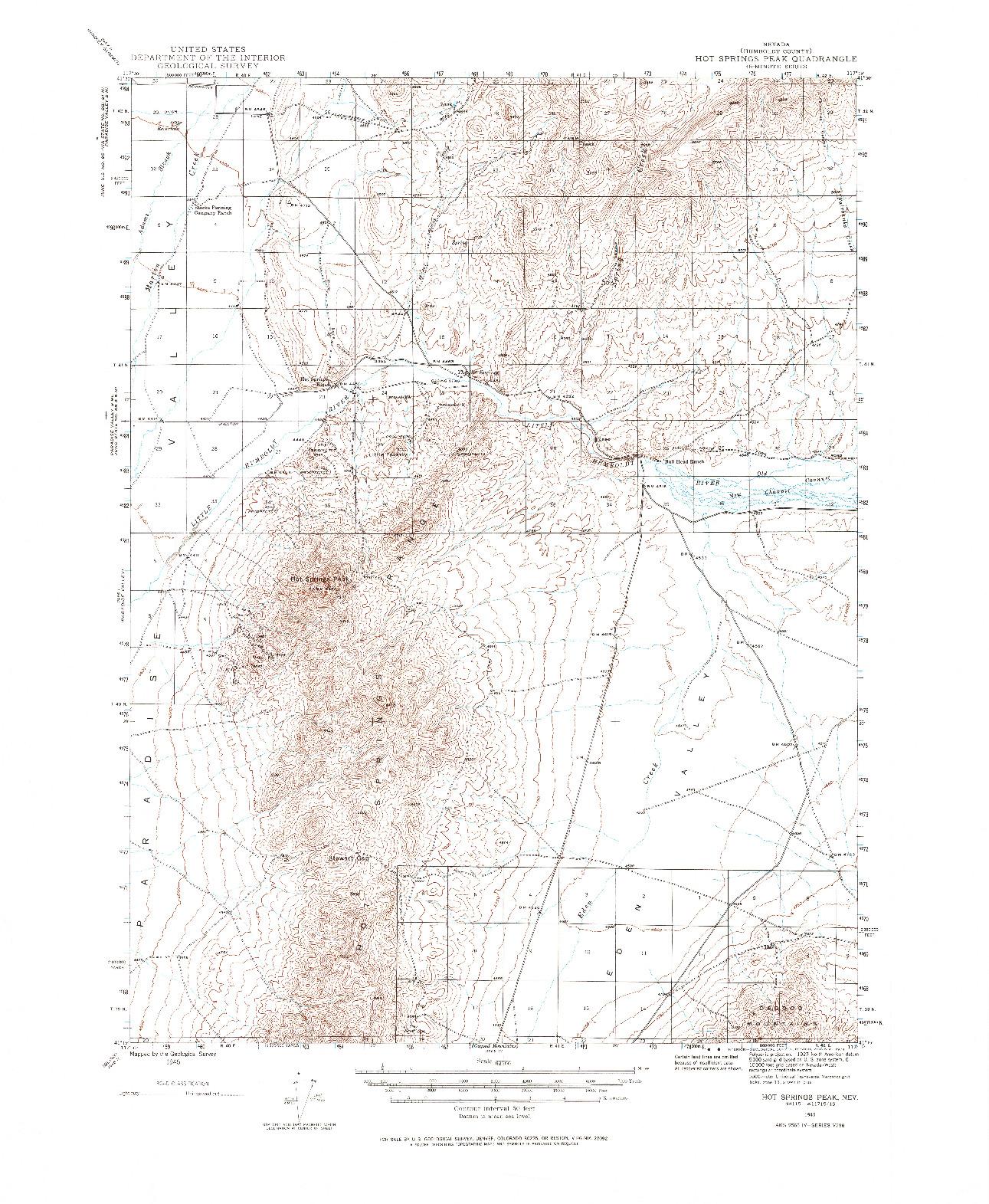USGS 1:62500-SCALE QUADRANGLE FOR HOT SPRINGS PEAK, NV 1945