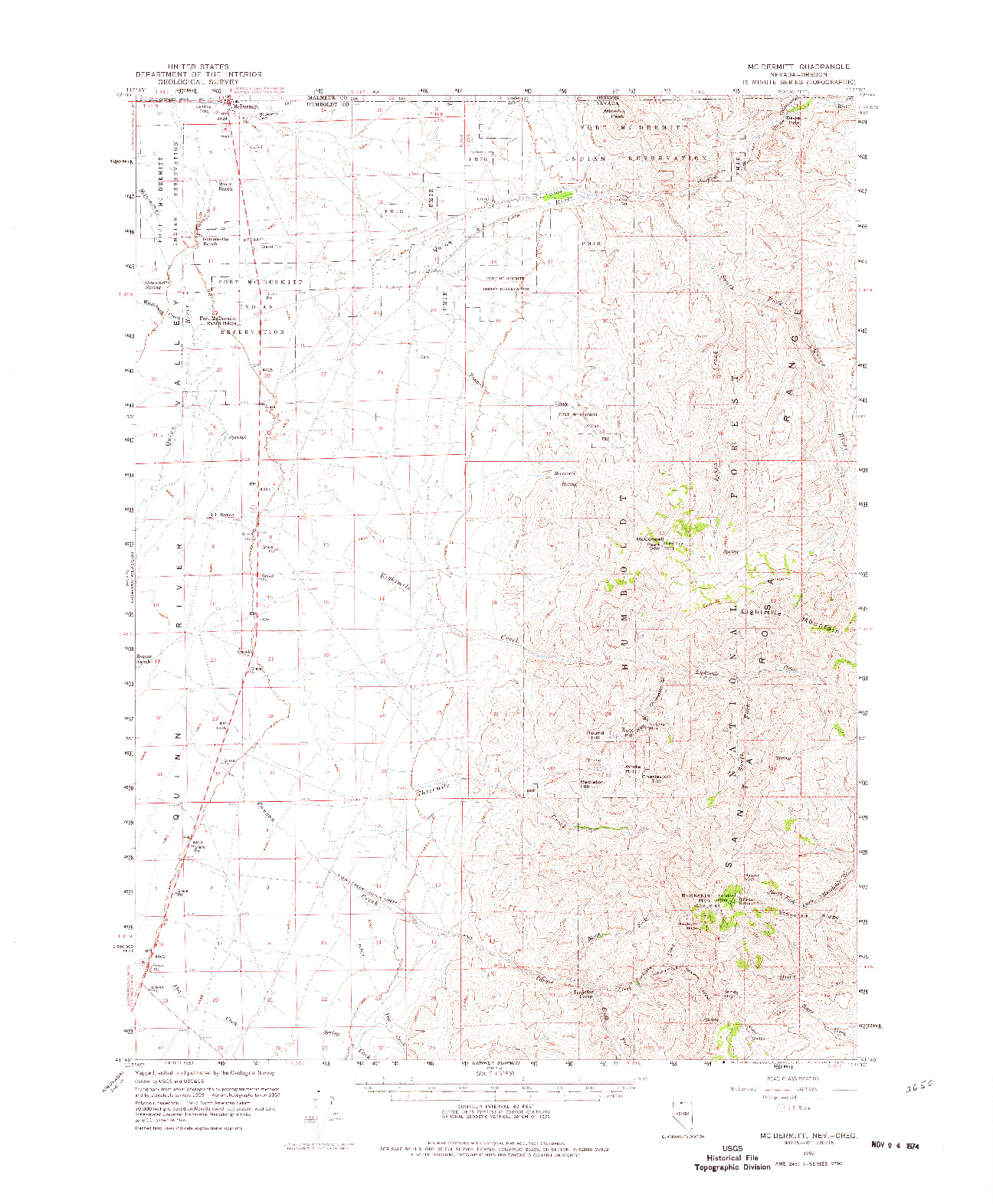 USGS 1:62500-SCALE QUADRANGLE FOR MCDERMITT, NV 1959