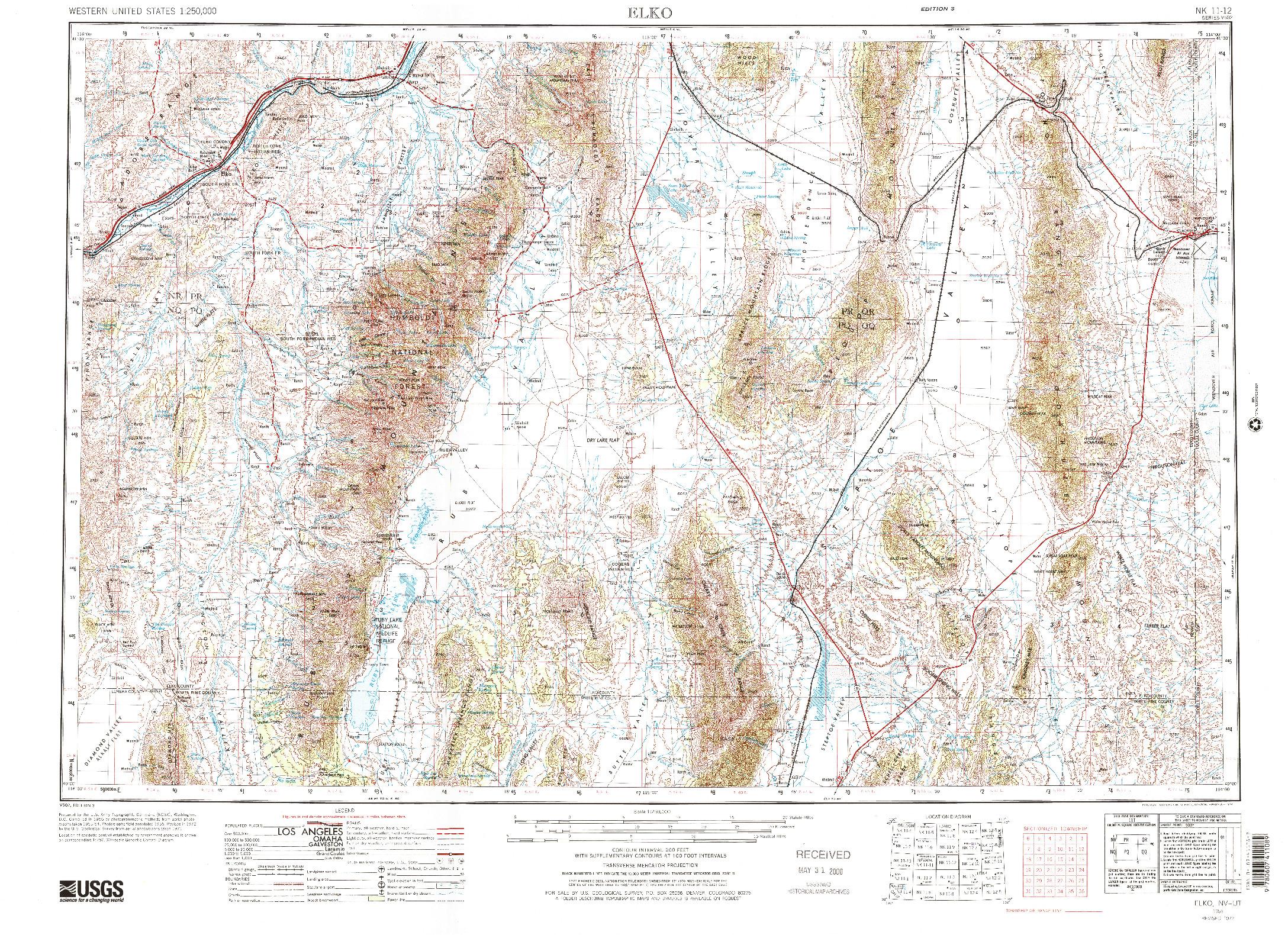 USGS 1:250000-SCALE QUADRANGLE FOR ELKO, NV 1955
