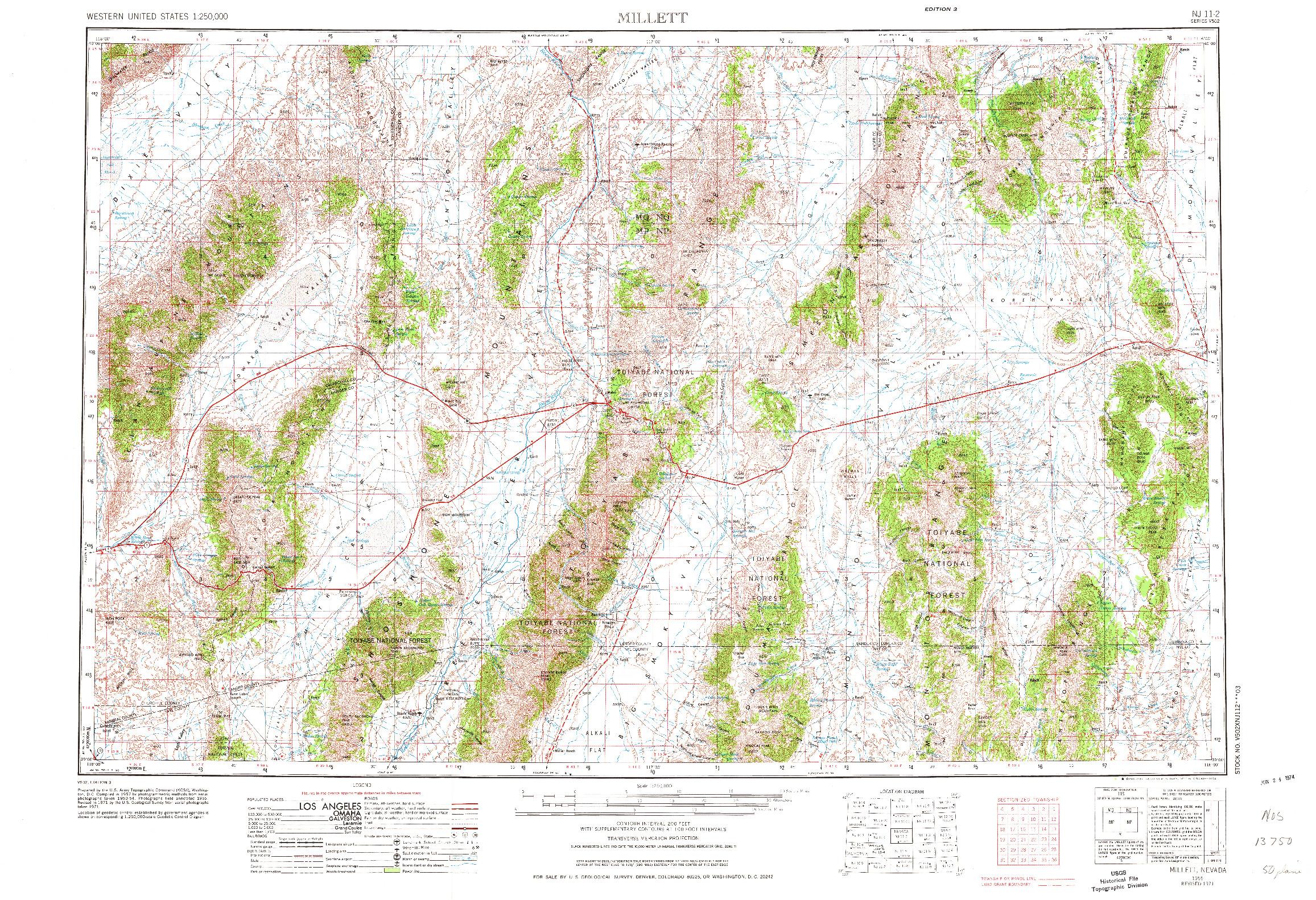 USGS 1:250000-SCALE QUADRANGLE FOR MILLETT, NV 1955