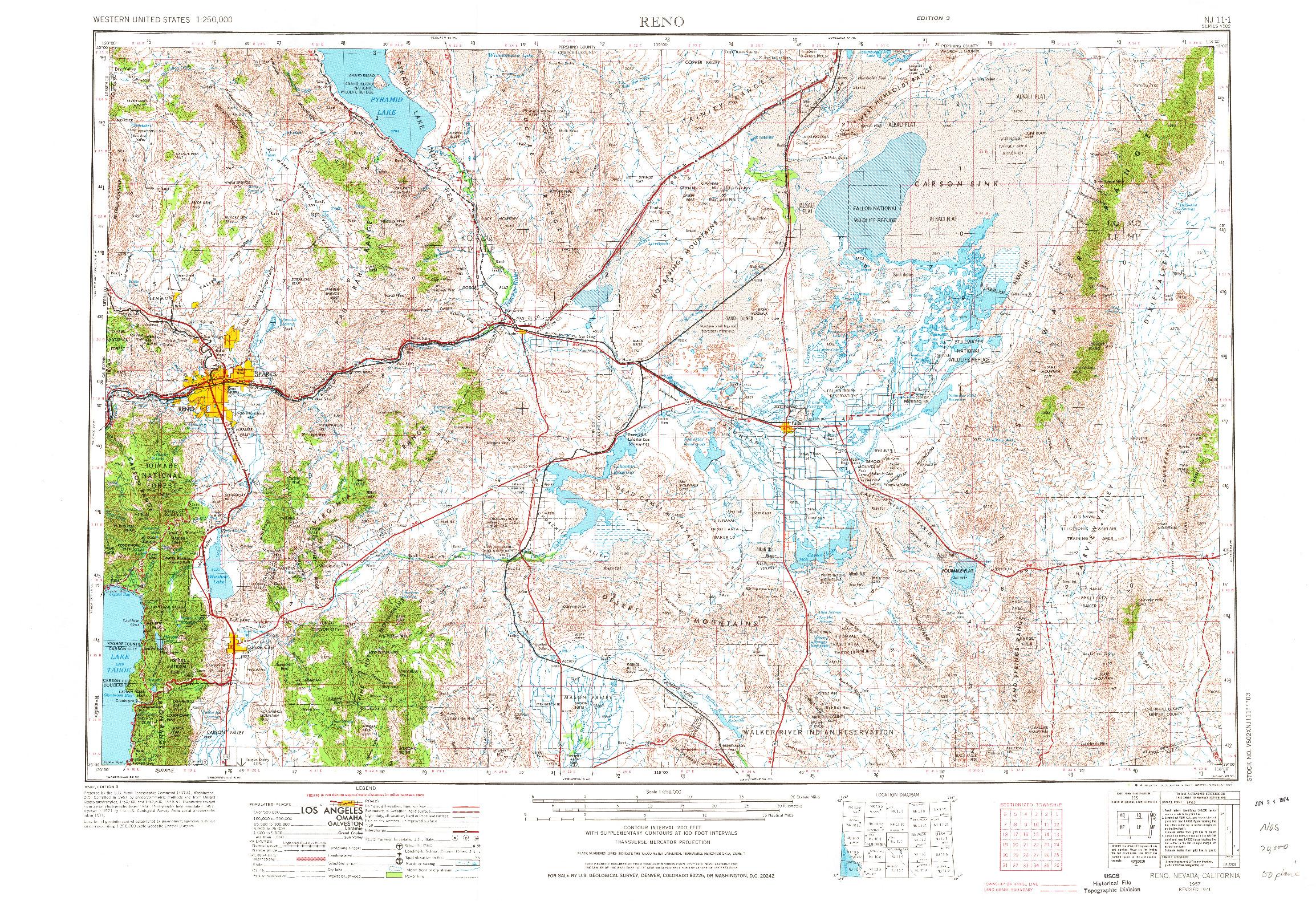 USGS 1:250000-SCALE QUADRANGLE FOR RENO, NV 1957