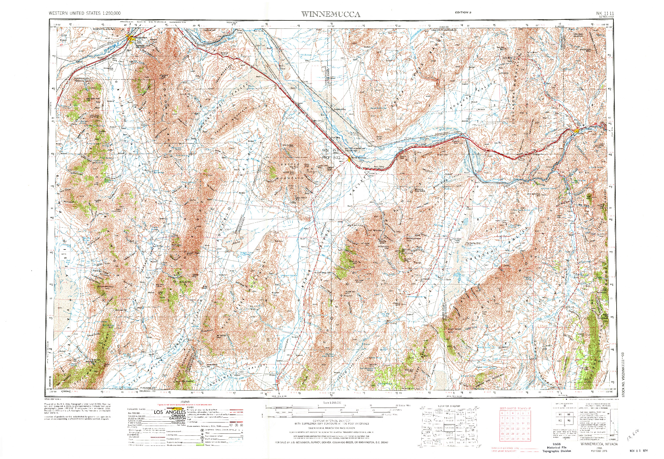 USGS 1:250000-SCALE QUADRANGLE FOR WINNEMUCCA, NV 1955