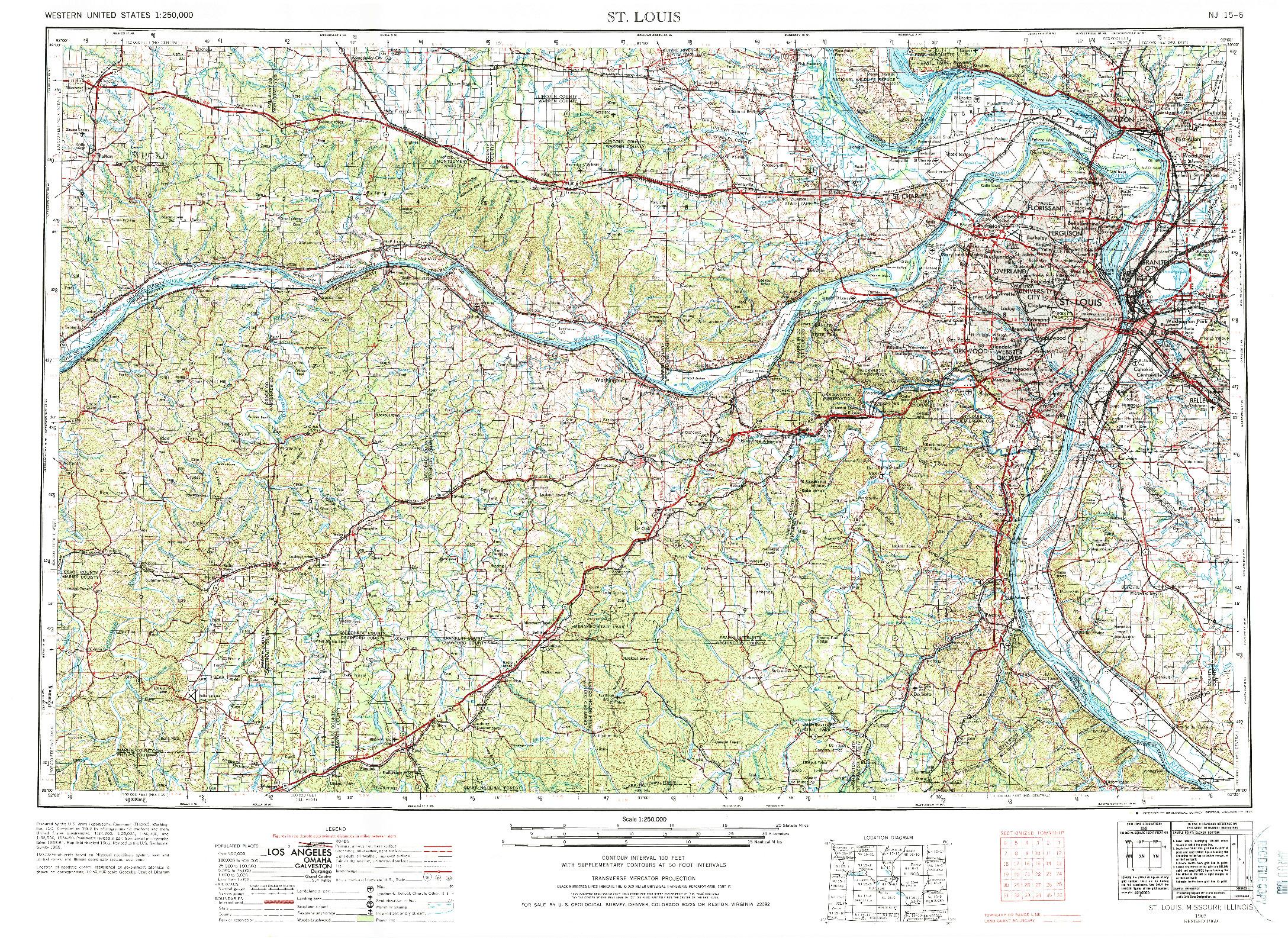 USGS 1:250000-SCALE QUADRANGLE FOR ST. LOUIS, MO 1963