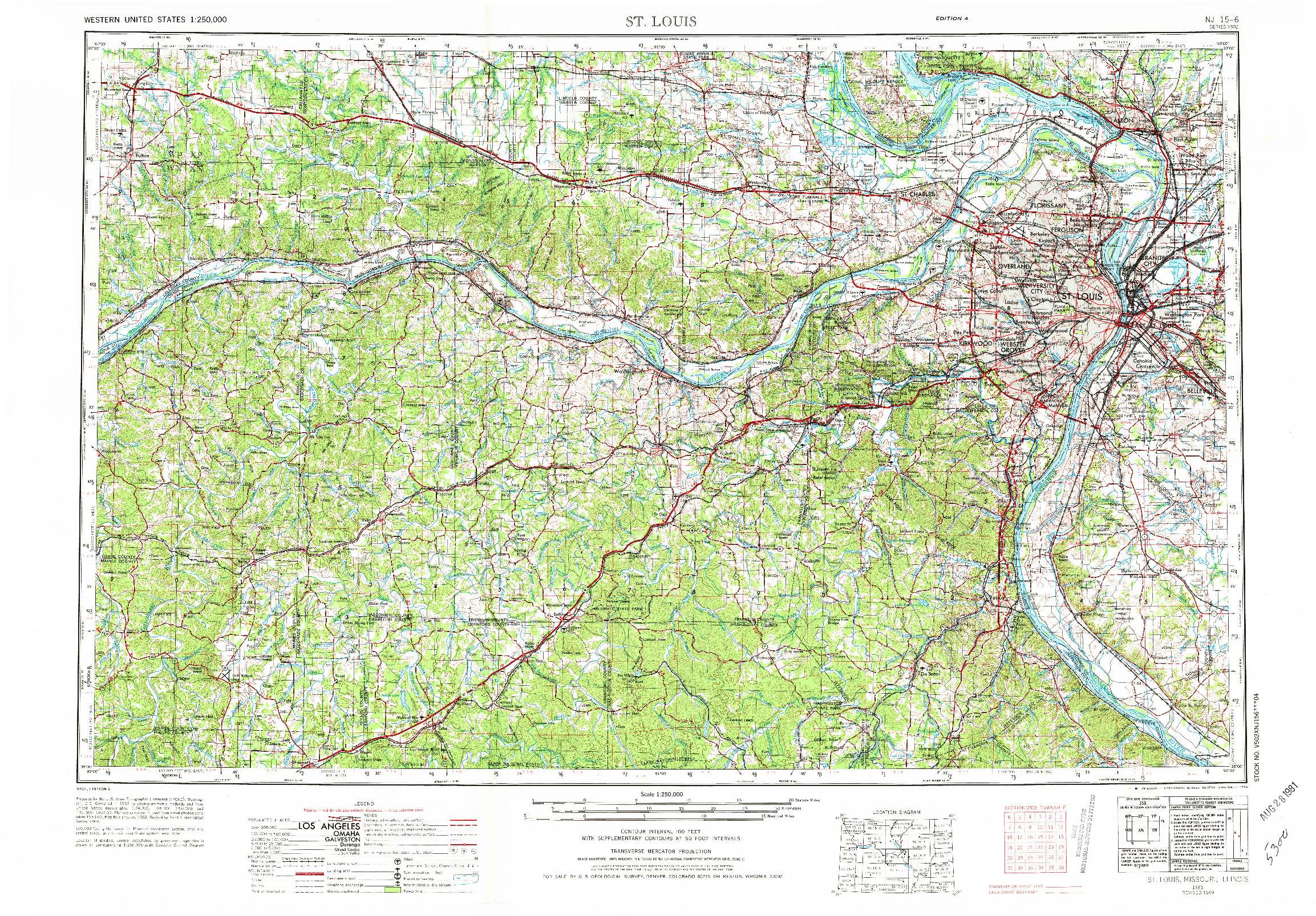 USGS 1:250000-SCALE QUADRANGLE FOR ST. LOUIS, MO 1963