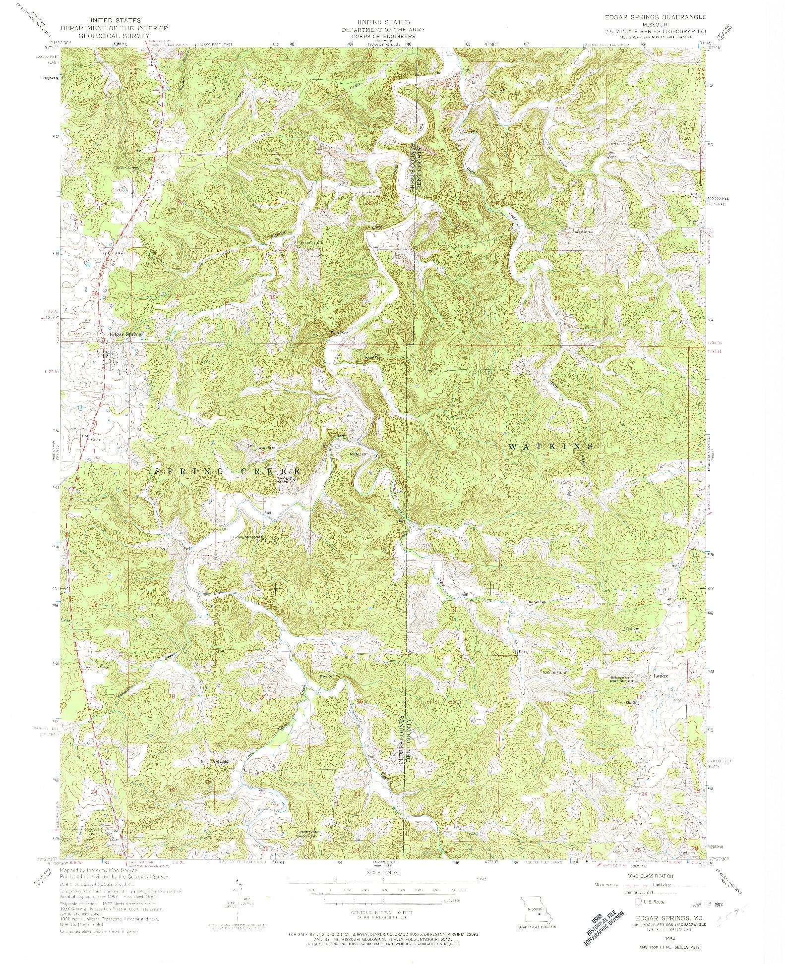 USGS 1:24000-SCALE QUADRANGLE FOR EDGAR SPRINGS, MO 1954
