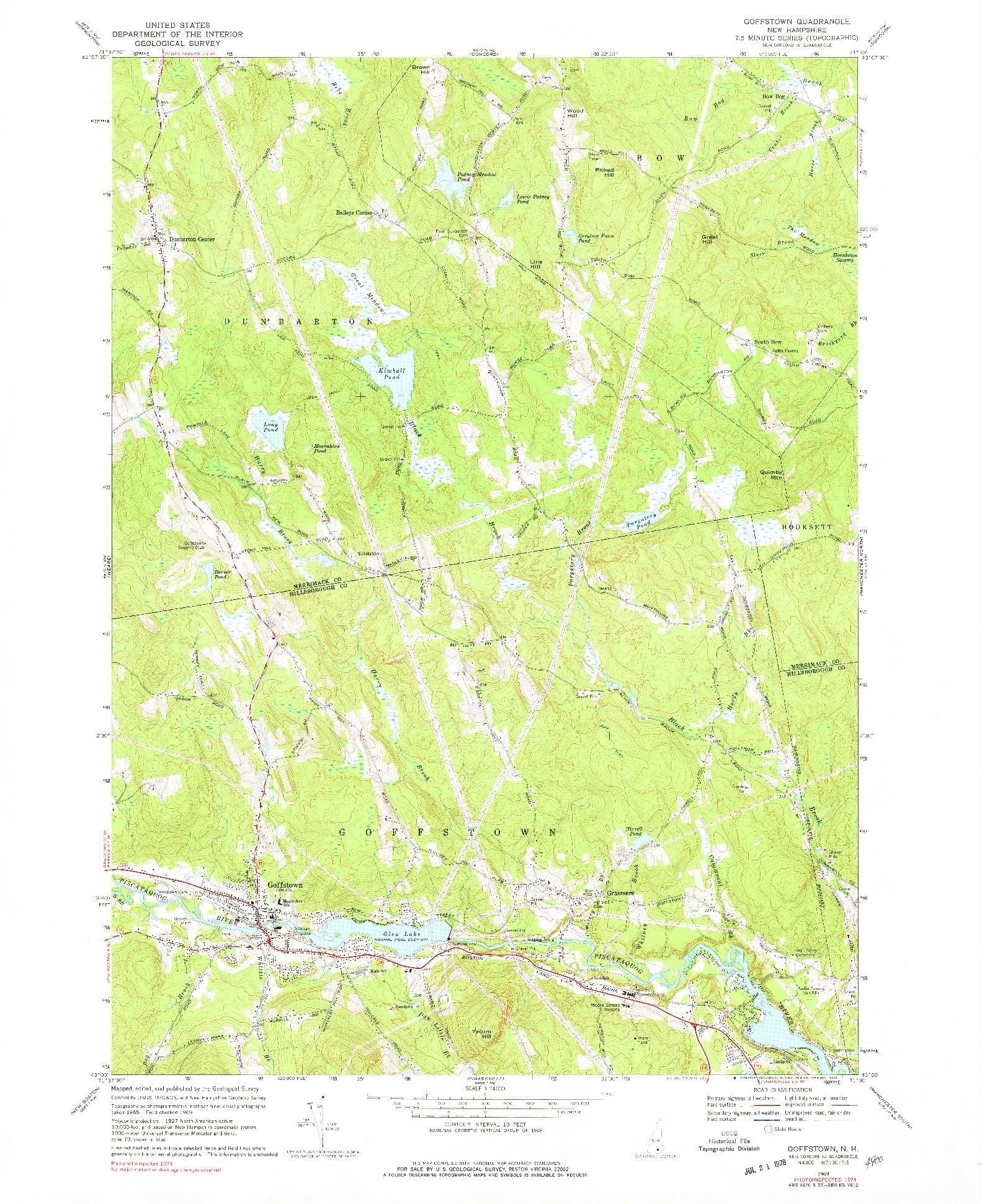 USGS 1:24000-SCALE QUADRANGLE FOR GOFFSTOWN, NH 1969