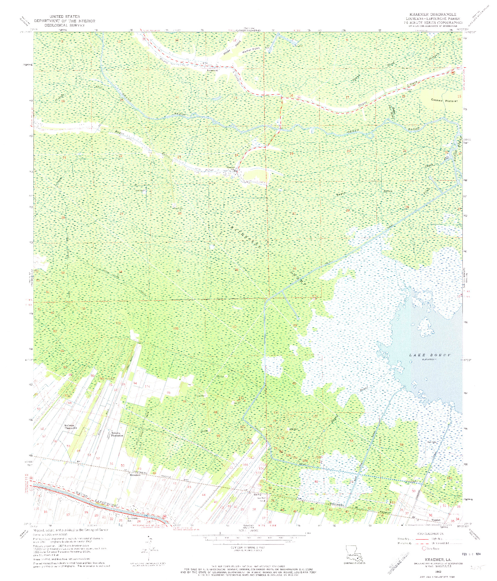 USGS 1:24000-SCALE QUADRANGLE FOR KRAEMER, LA 1962