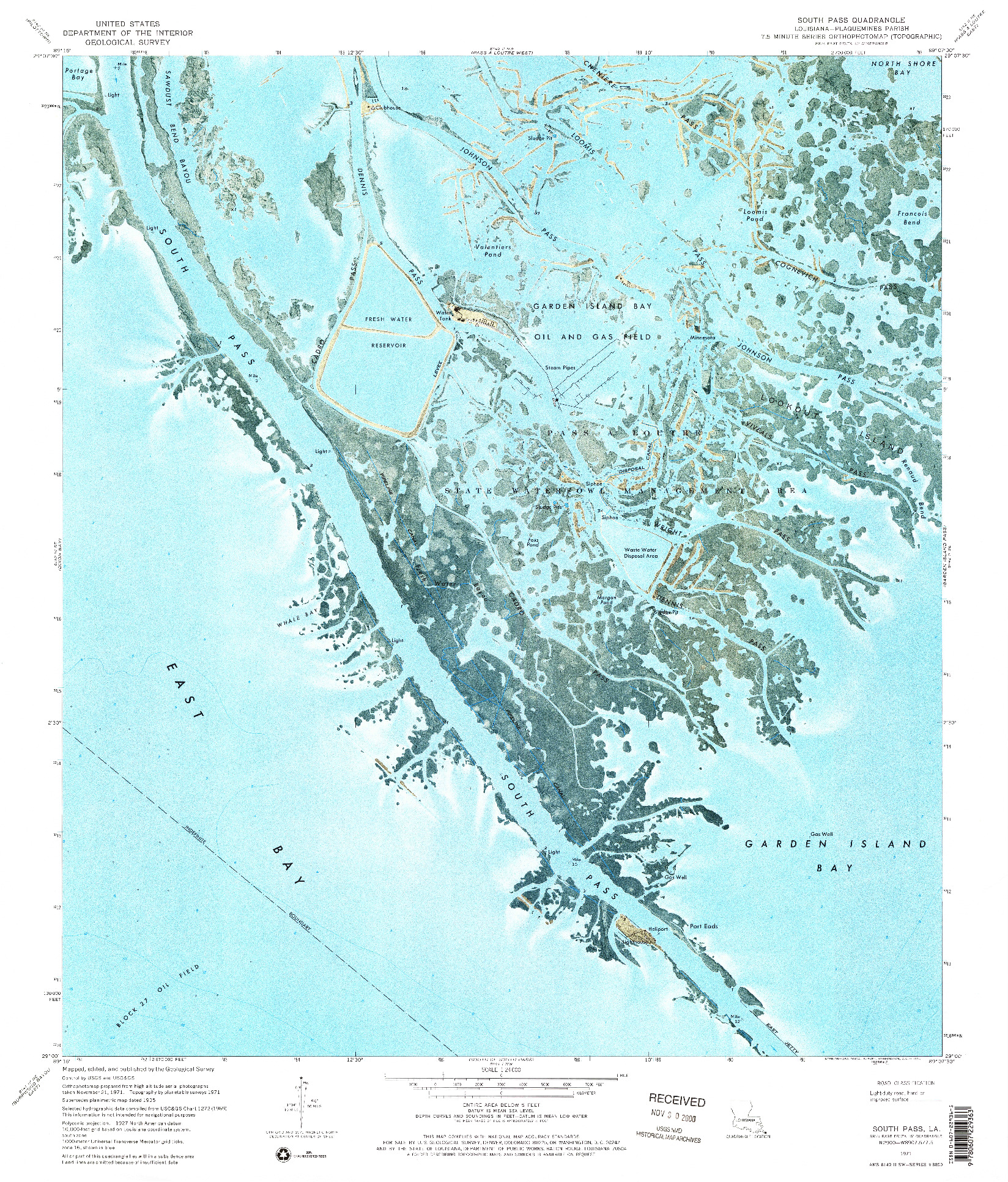 USGS 1:24000-SCALE QUADRANGLE FOR SOUTH PASS, LA 1971