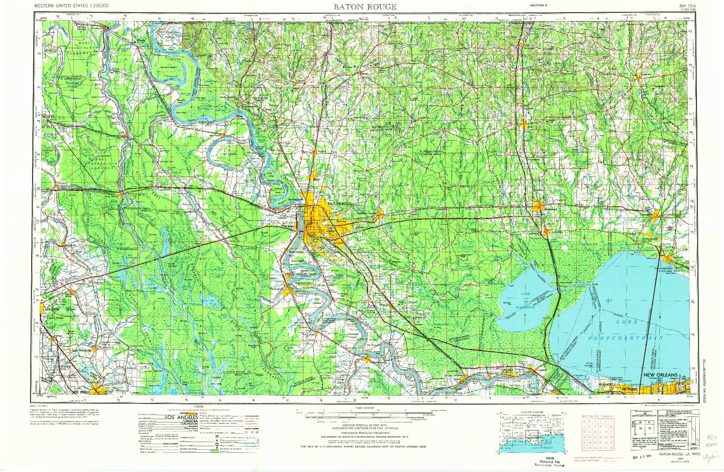 USGS 1:250000-SCALE QUADRANGLE FOR BATON ROUGE, LA 1954