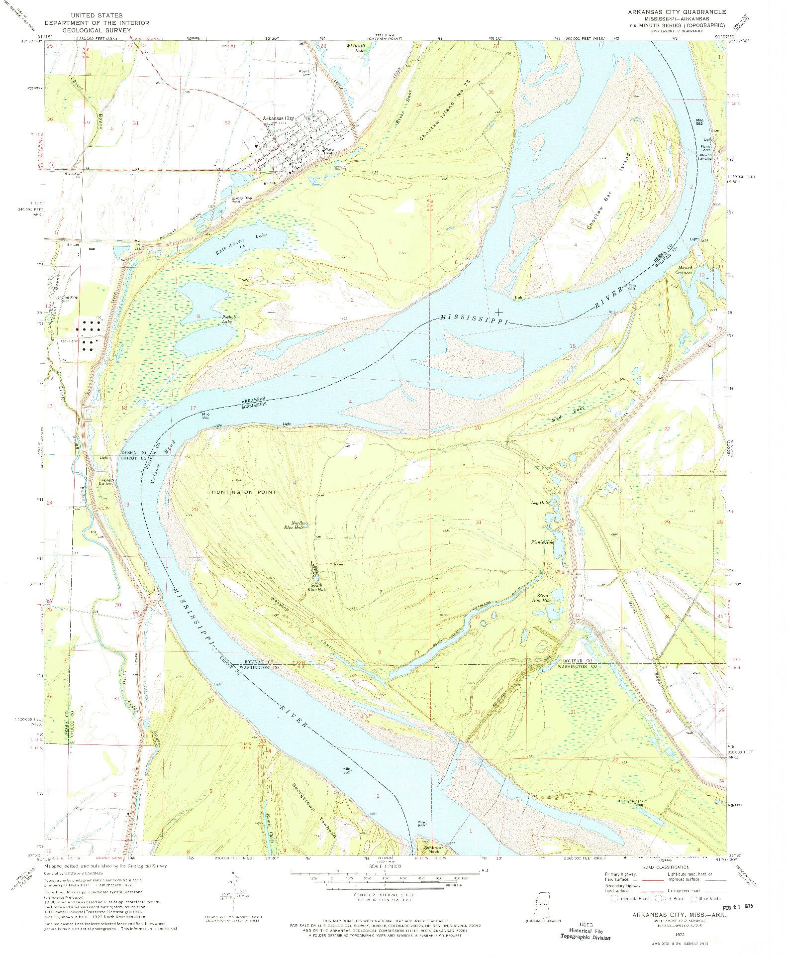 USGS 1:24000-SCALE QUADRANGLE FOR ARKANSAS CITY, MS 1972