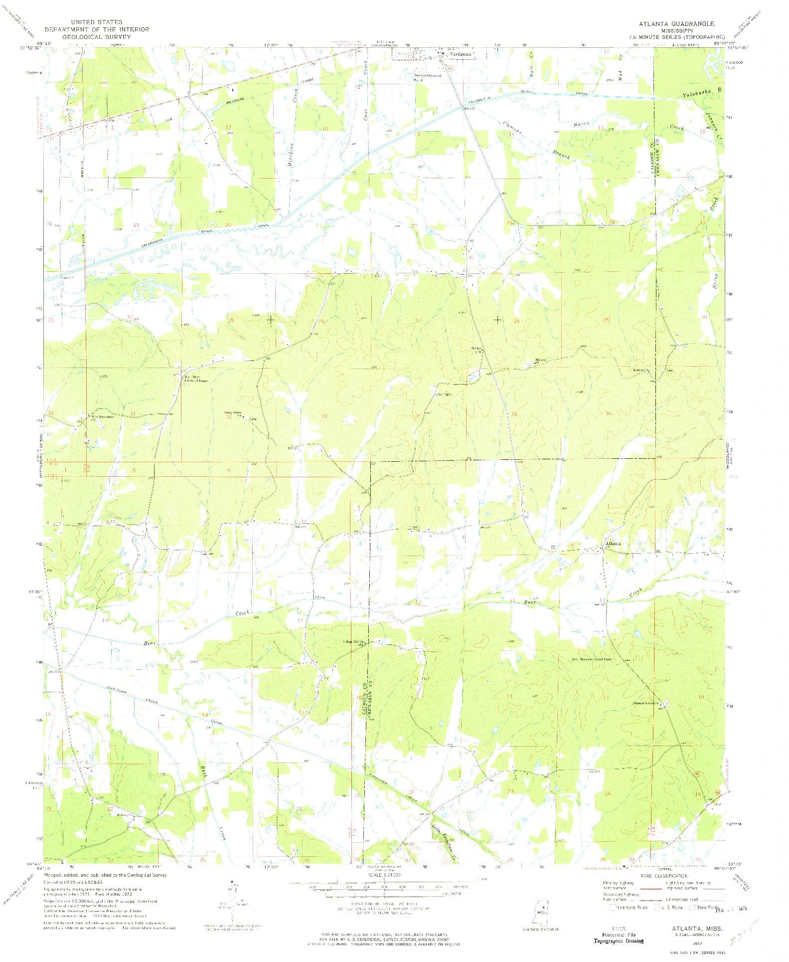 USGS 1:24000-SCALE QUADRANGLE FOR ATLANTA, MS 1972