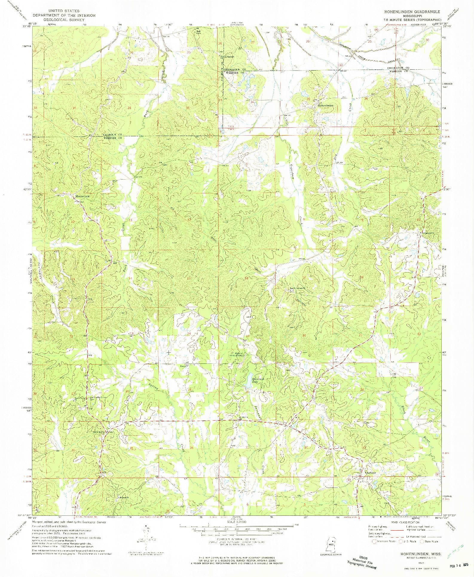 USGS 1:24000-SCALE QUADRANGLE FOR HOHENLINDEN, MS 1972
