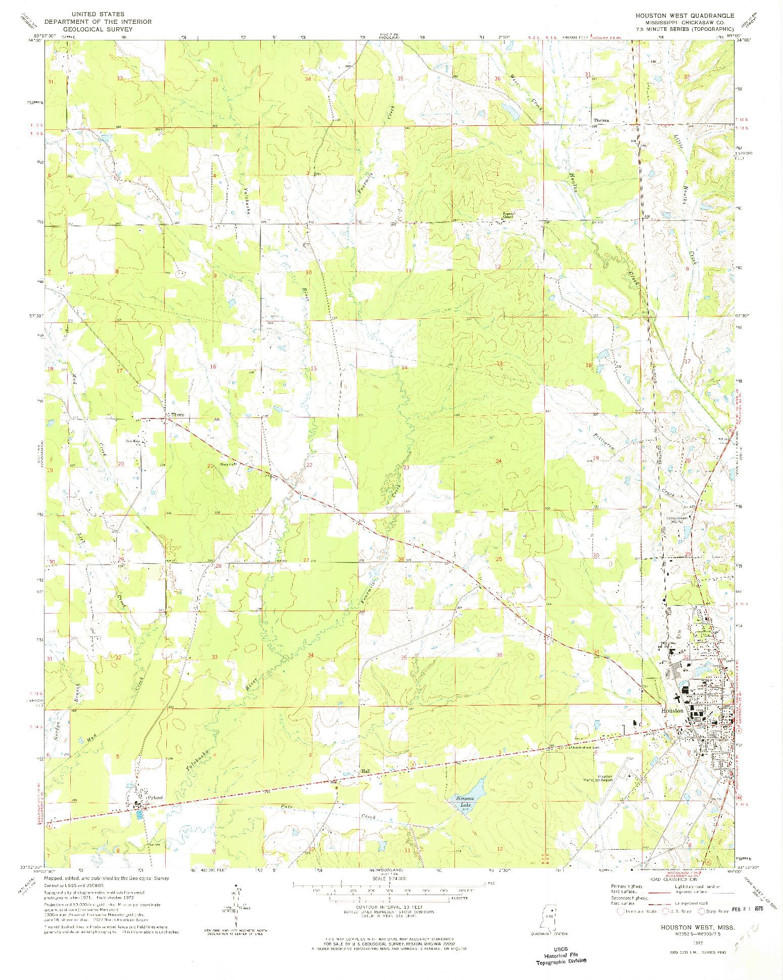 USGS 1:24000-SCALE QUADRANGLE FOR HOUSTON WEST, MS 1972