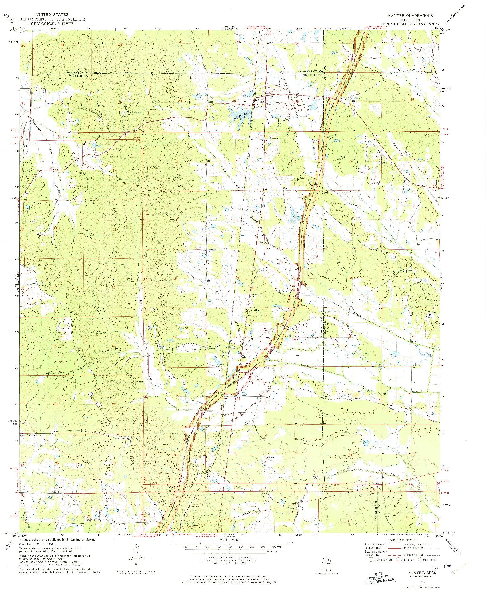 USGS 1:24000-SCALE QUADRANGLE FOR MANTEE, MS 1972