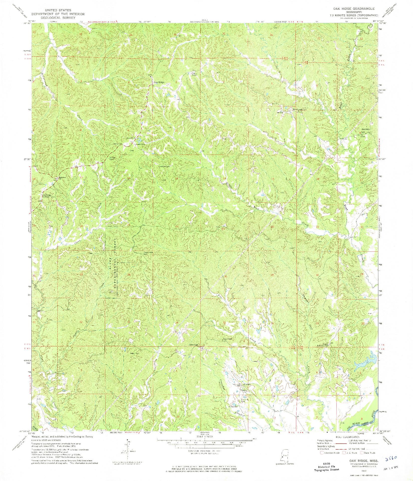 USGS 1:24000-SCALE QUADRANGLE FOR OAK RIDGE, MS 1972