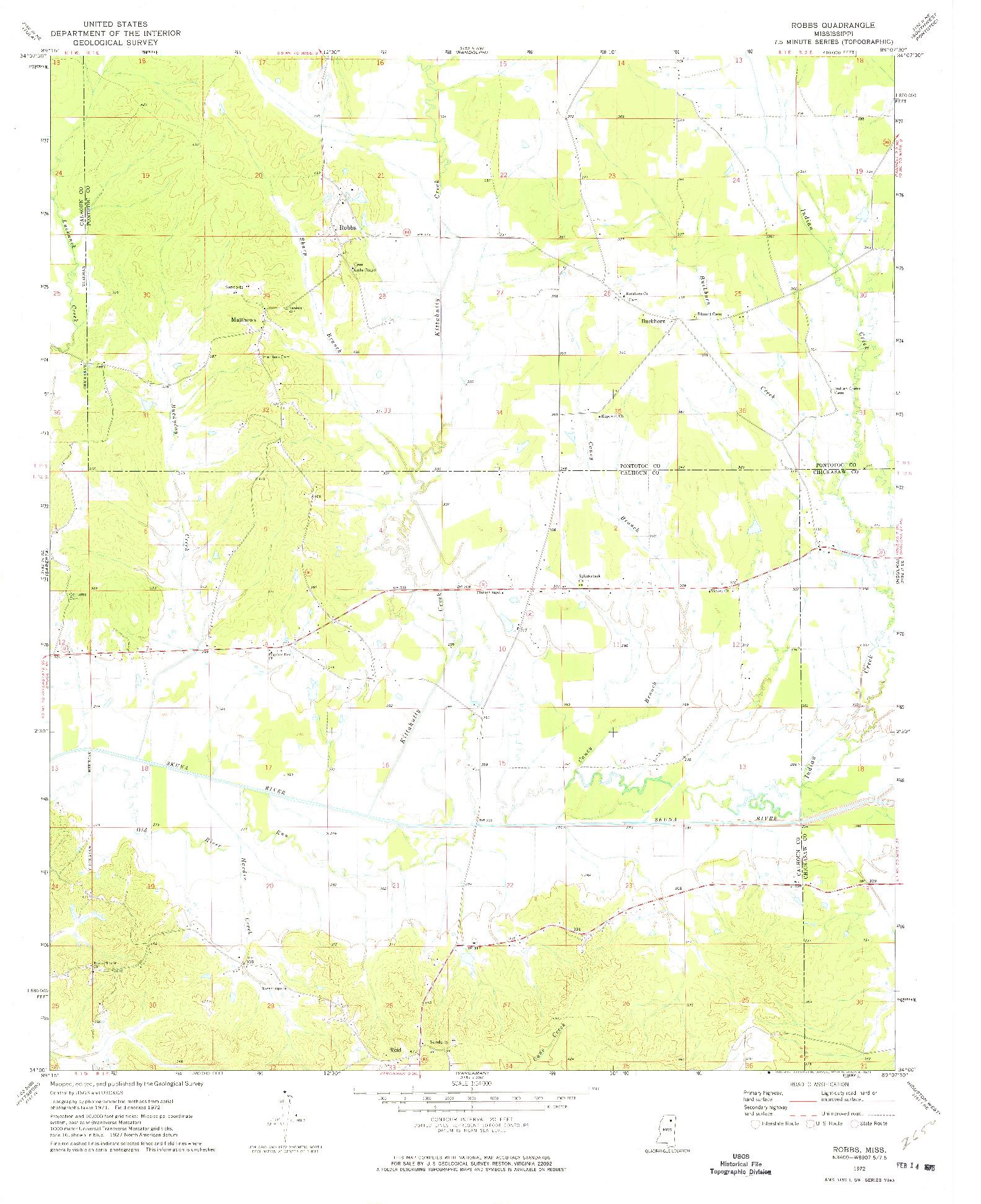 USGS 1:24000-SCALE QUADRANGLE FOR ROBBS, MS 1972