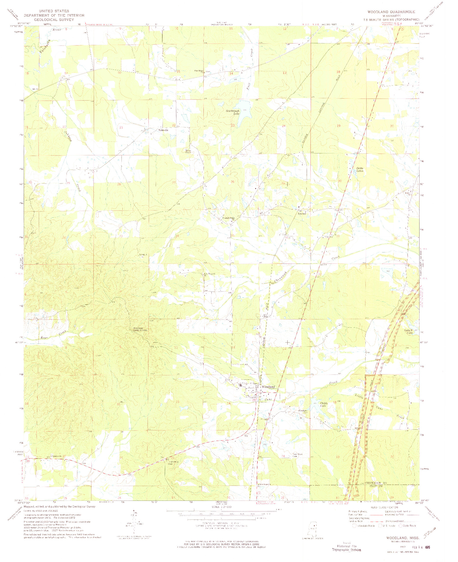 USGS 1:24000-SCALE QUADRANGLE FOR WOODLAND, MS 1972