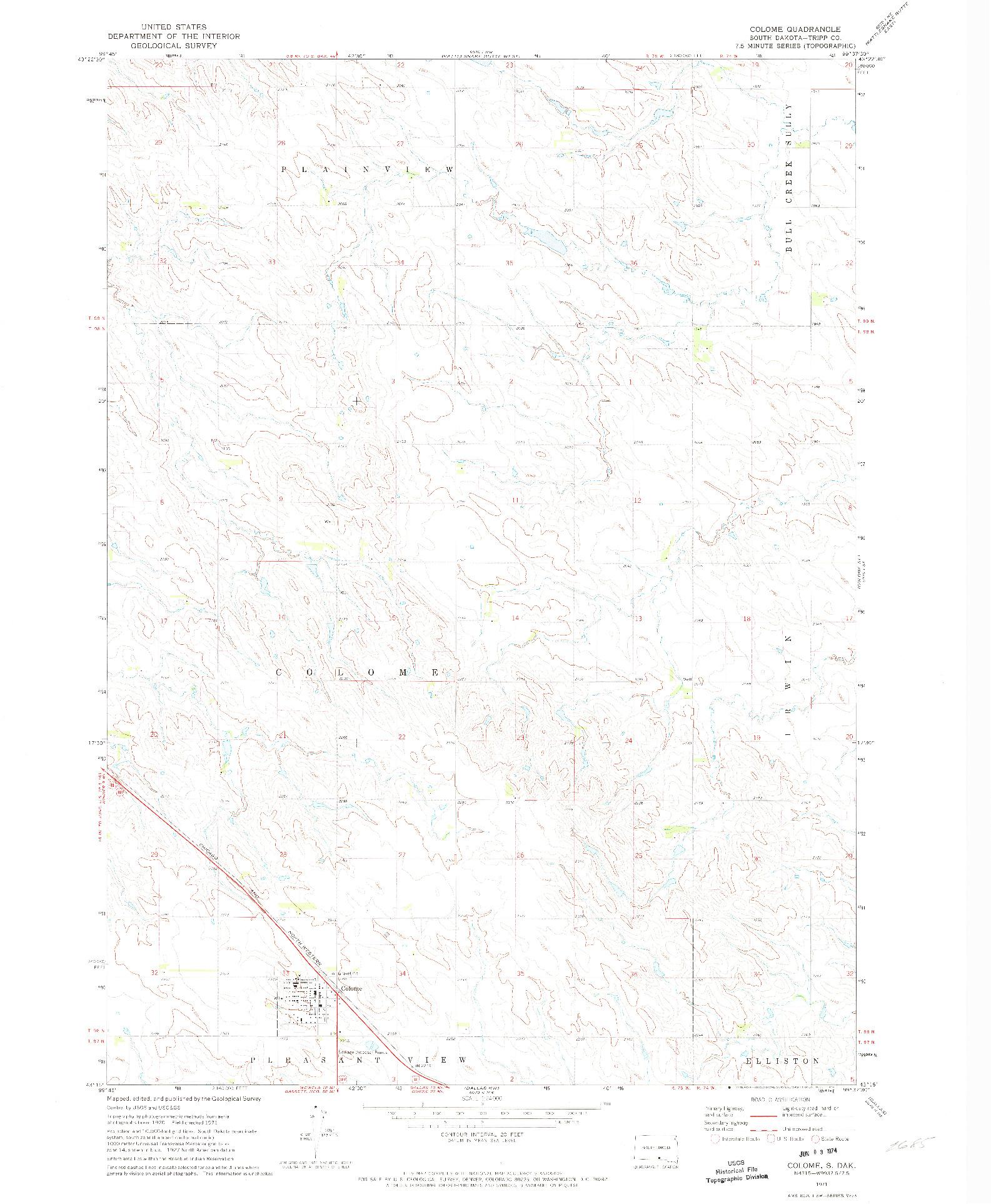 USGS 1:24000-SCALE QUADRANGLE FOR COLOME, SD 1971