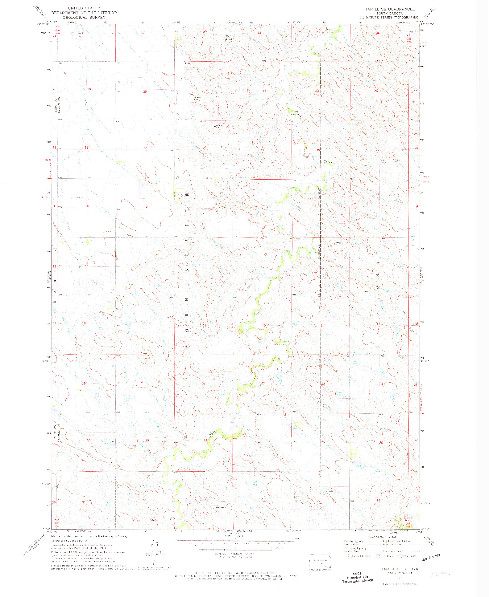 USGS 1:24000-SCALE QUADRANGLE FOR HAMILL SE, SD 1971