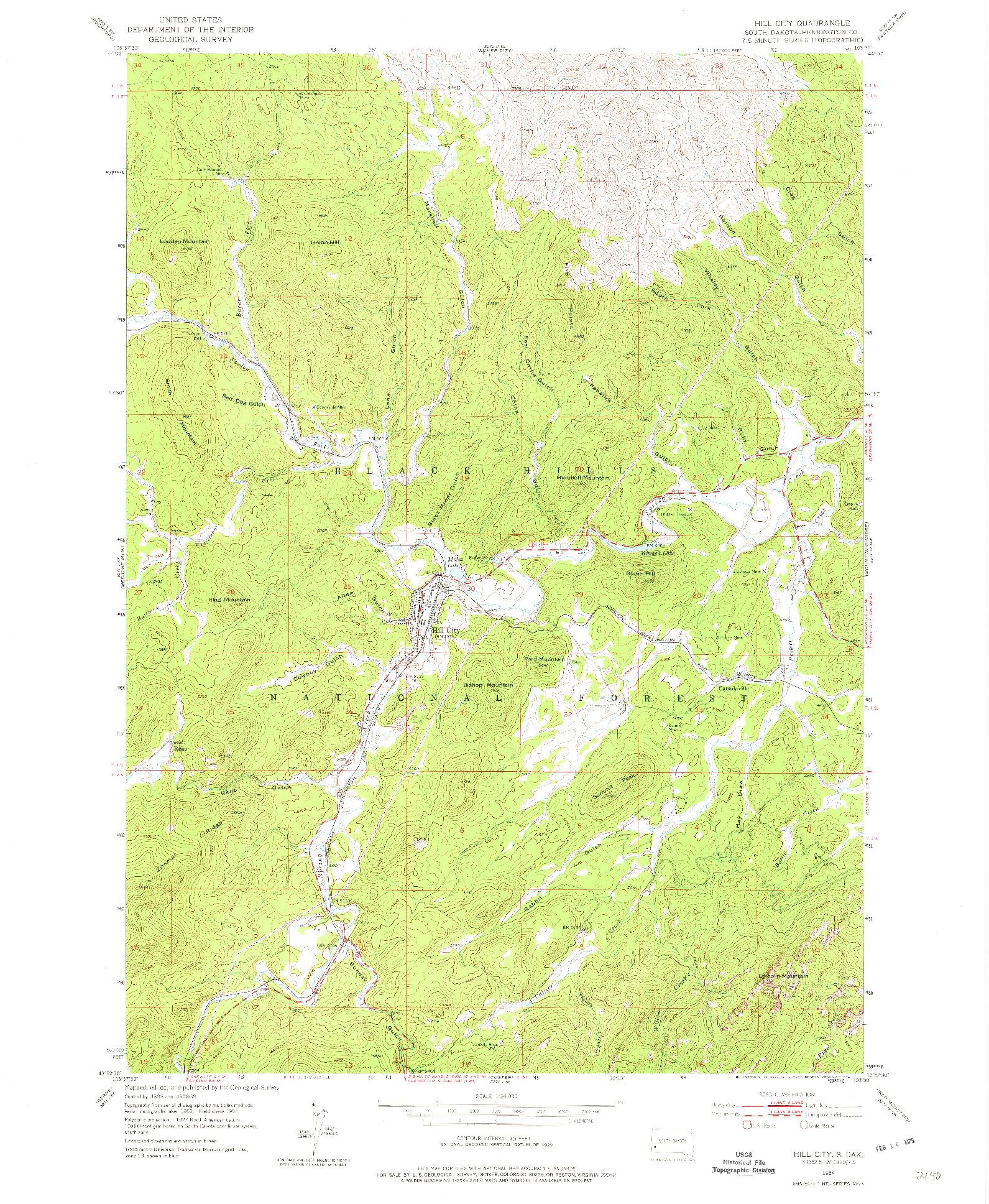 USGS 1:24000-SCALE QUADRANGLE FOR HILL CITY, SD 1954