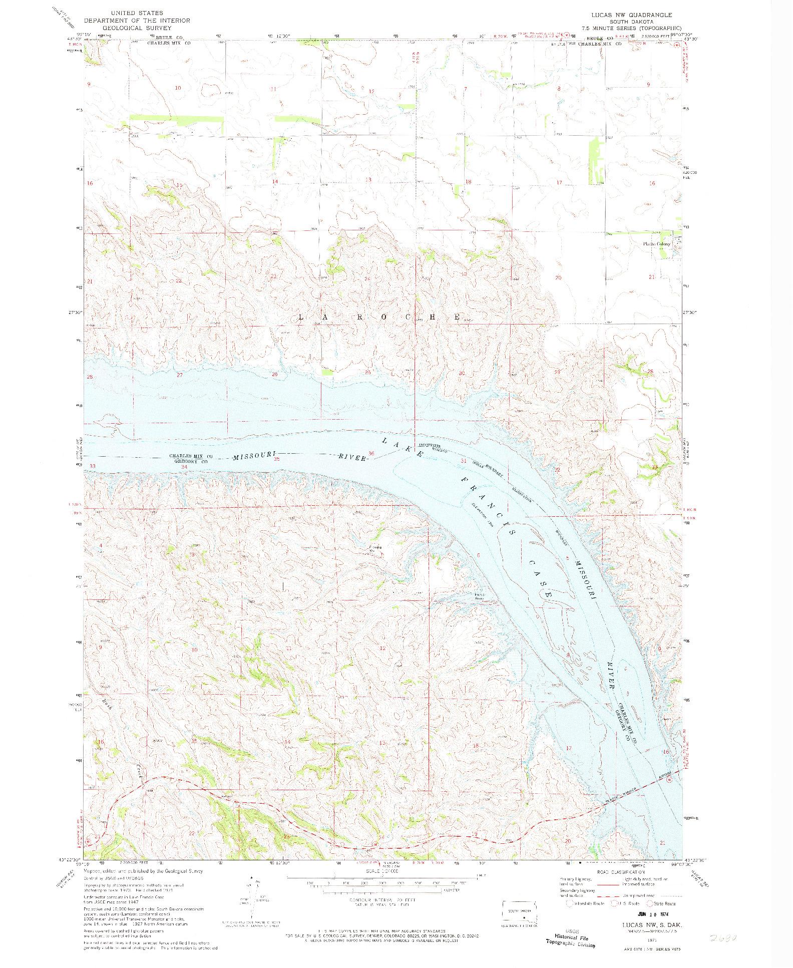 USGS 1:24000-SCALE QUADRANGLE FOR LUCAS NW, SD 1971