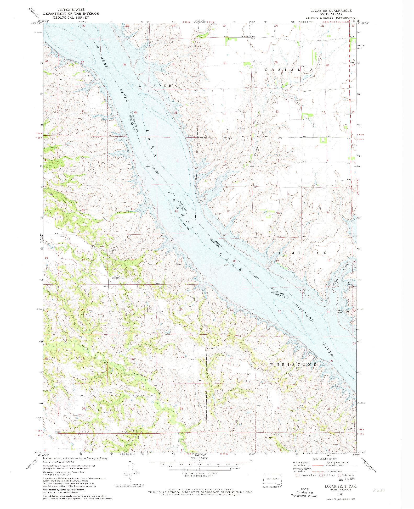 USGS 1:24000-SCALE QUADRANGLE FOR LUCAS SE, SD 1971