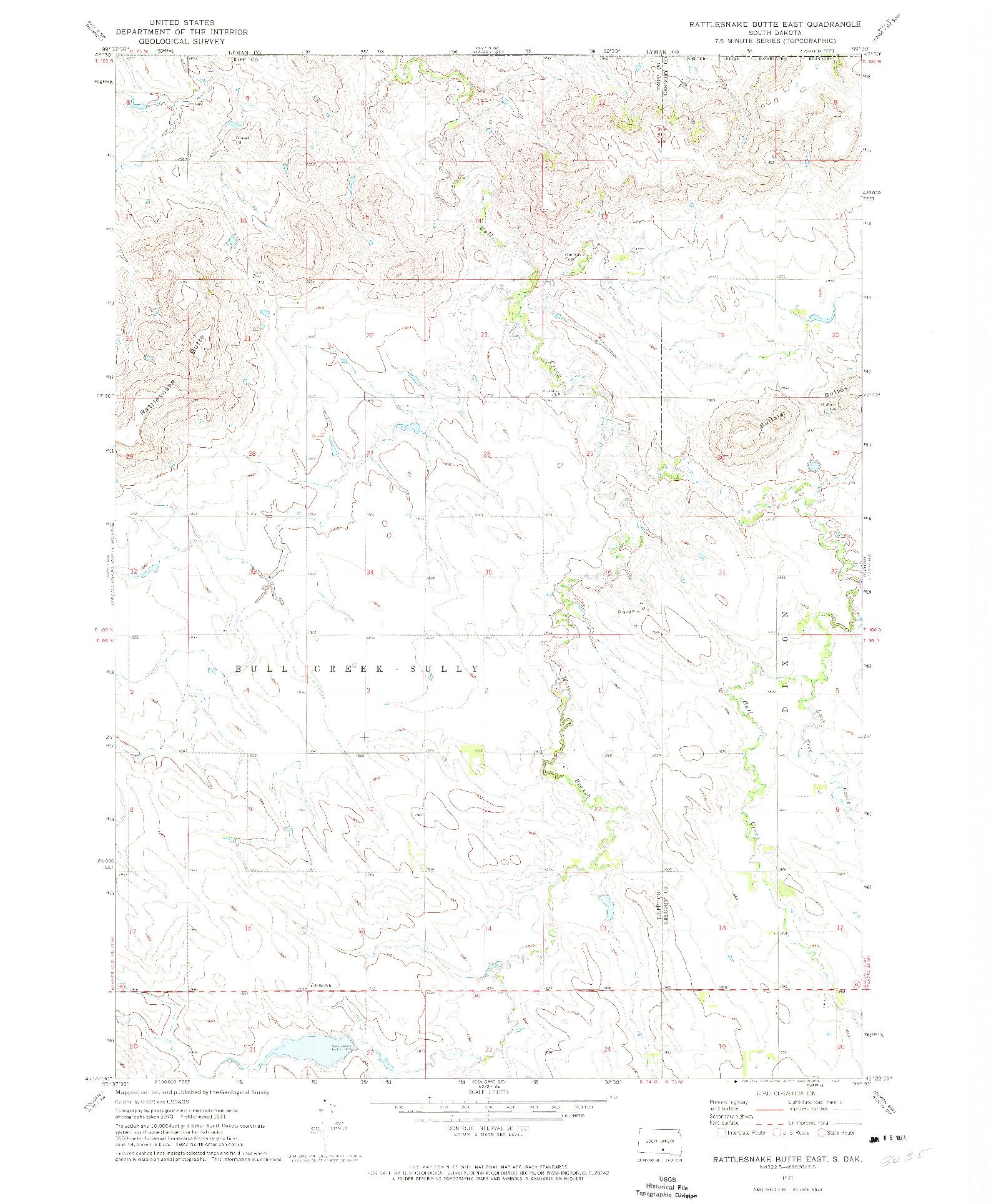 USGS 1:24000-SCALE QUADRANGLE FOR RATTLESNAKE BUTTE EAST, SD 1971