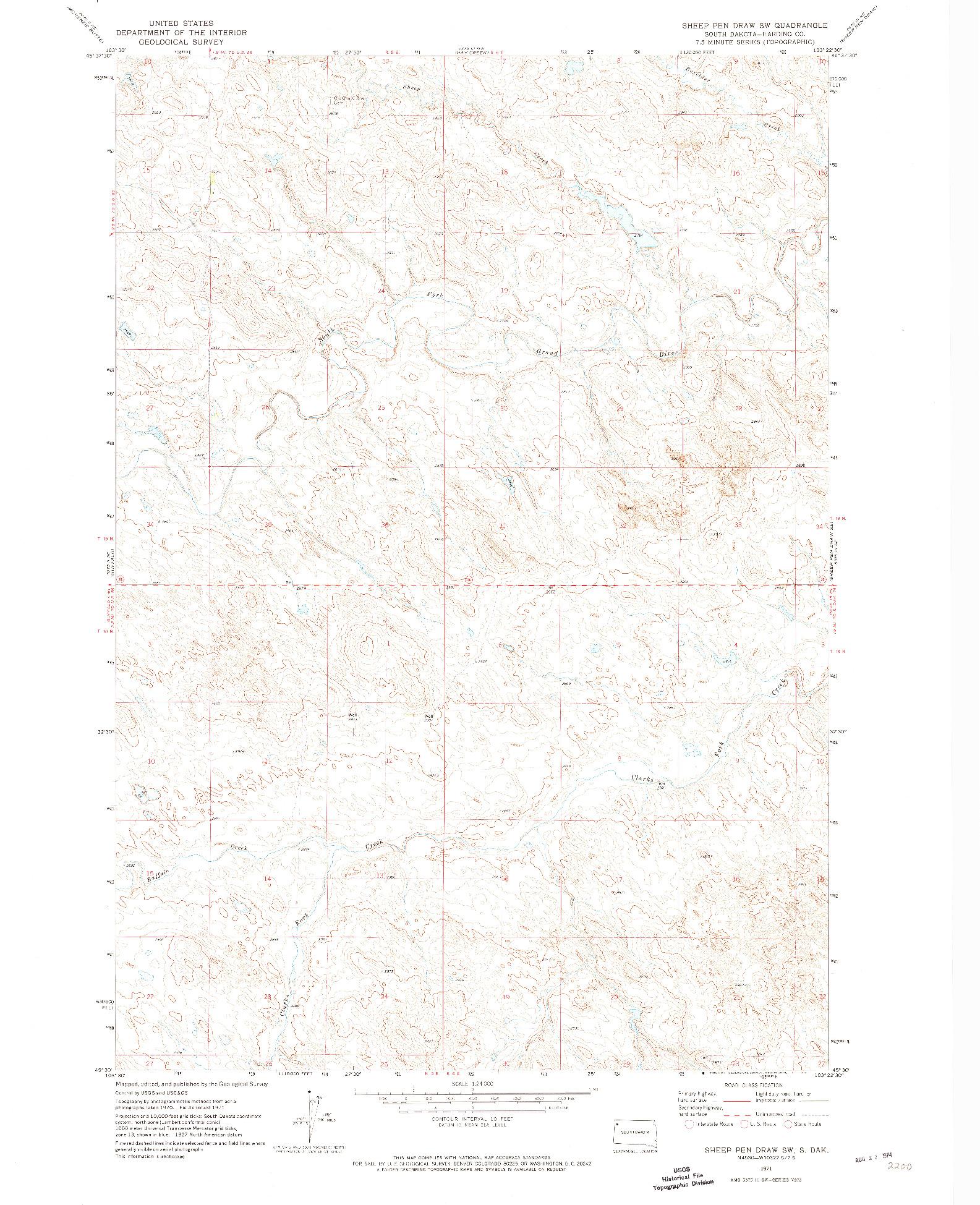USGS 1:24000-SCALE QUADRANGLE FOR SHEEP PEN DRAW SW, SD 1971